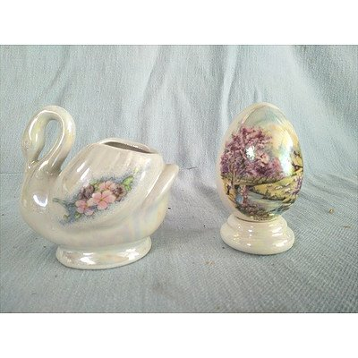 Opalescent Ornaments: Swan & Egg (Transfer Decorated With Floral Design)