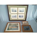 4 Framed Pictures In Timber Frames Including Albert Namatjira Print