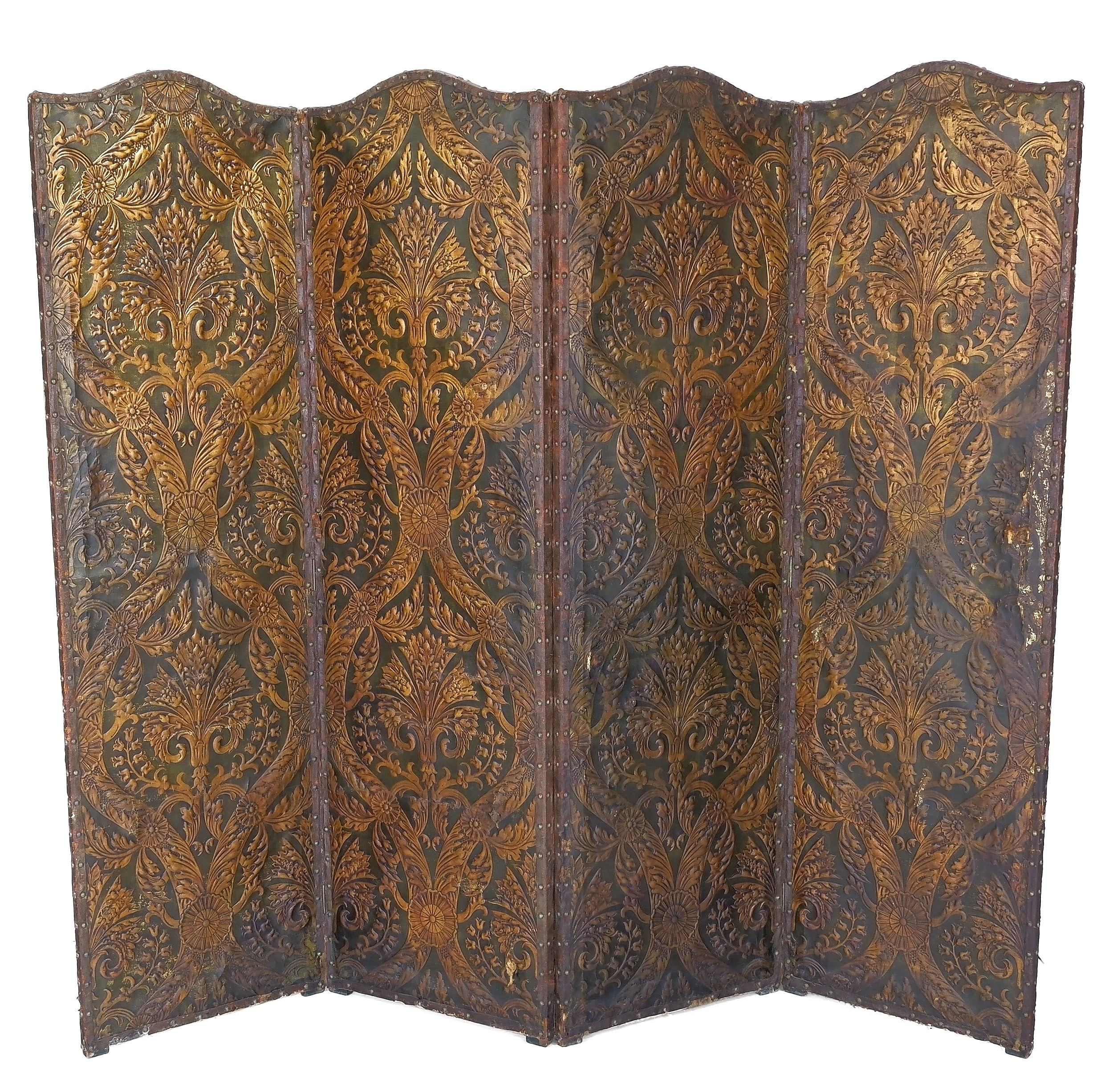 'Large Vintage Embossed Parchment, Fabric, and Brass Studded Leather Trimmed Fourfold Screen'
