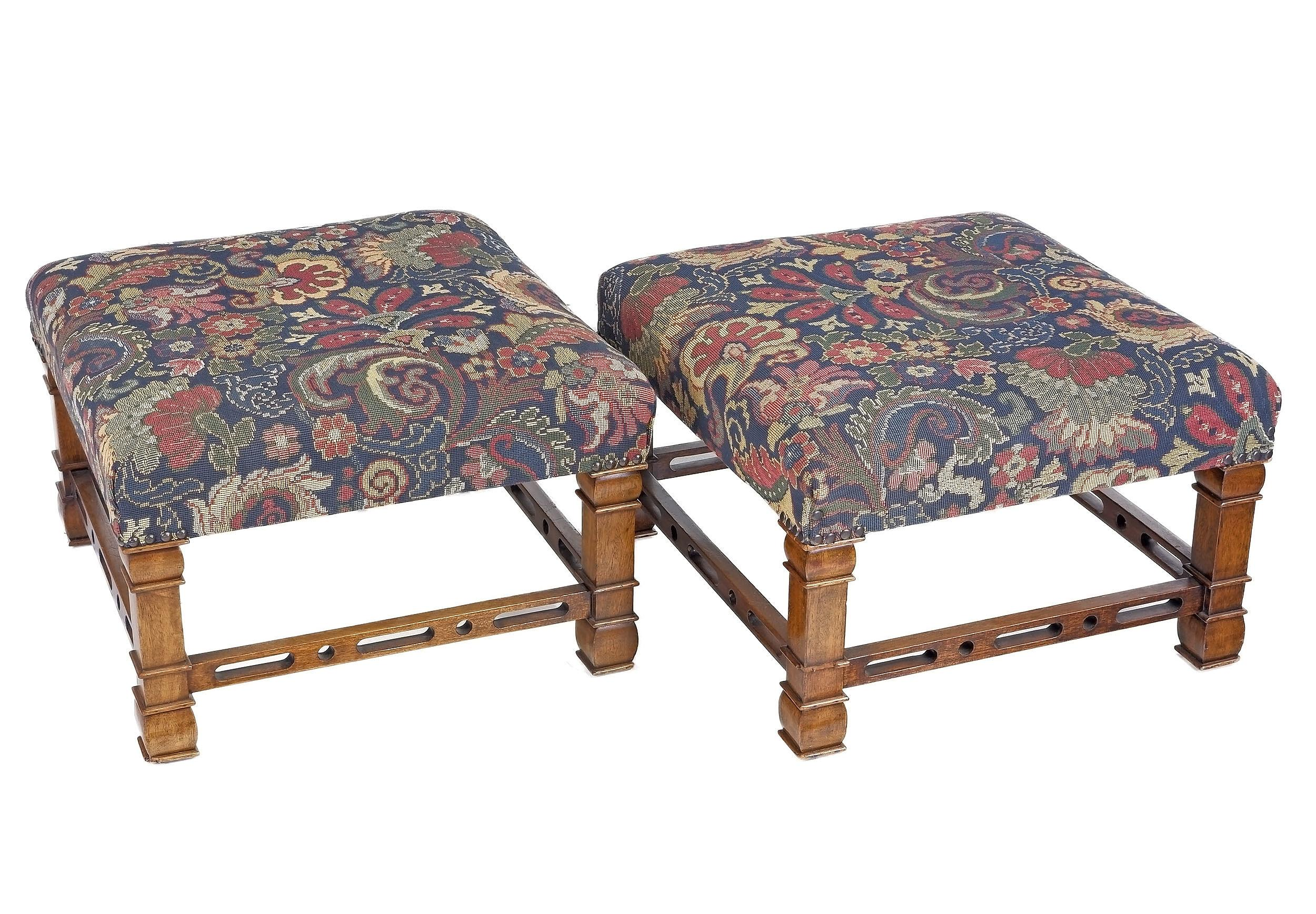 'Pair of Chinese Chippendale Style Stools with Tapestry Upholstery'