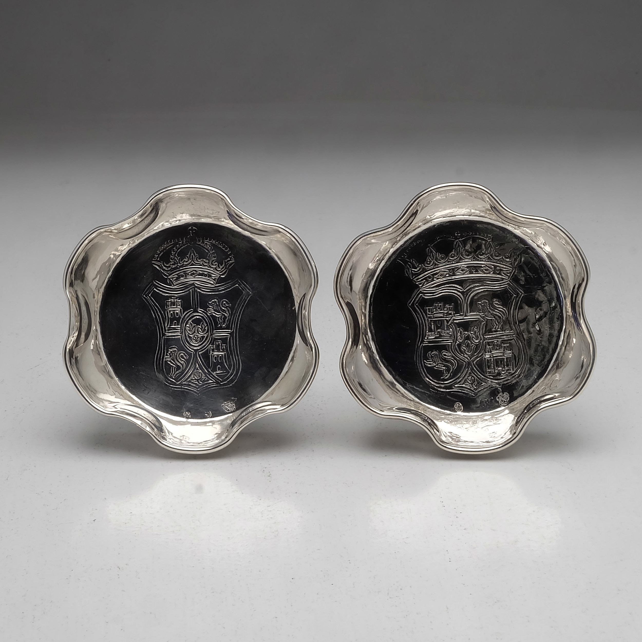 'Pair of Crested Spanish Silver Bonbon Dishes, Lopez, Madrid 91g'