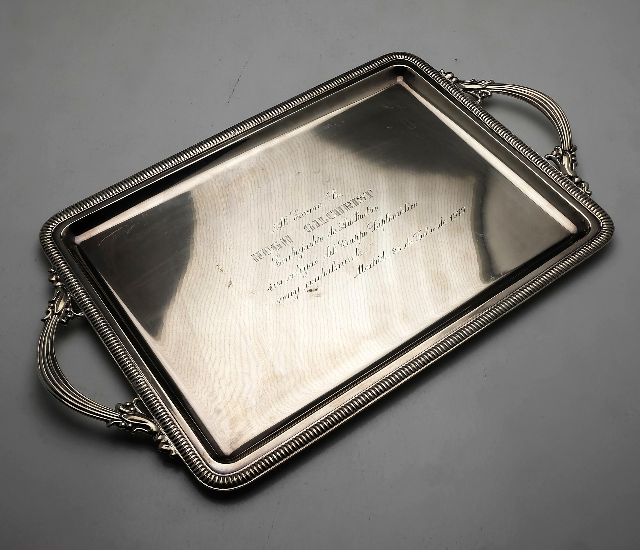 'Spanish Silver Tray with Inscription to Hugh Gilchrist Circa 1979 730g '