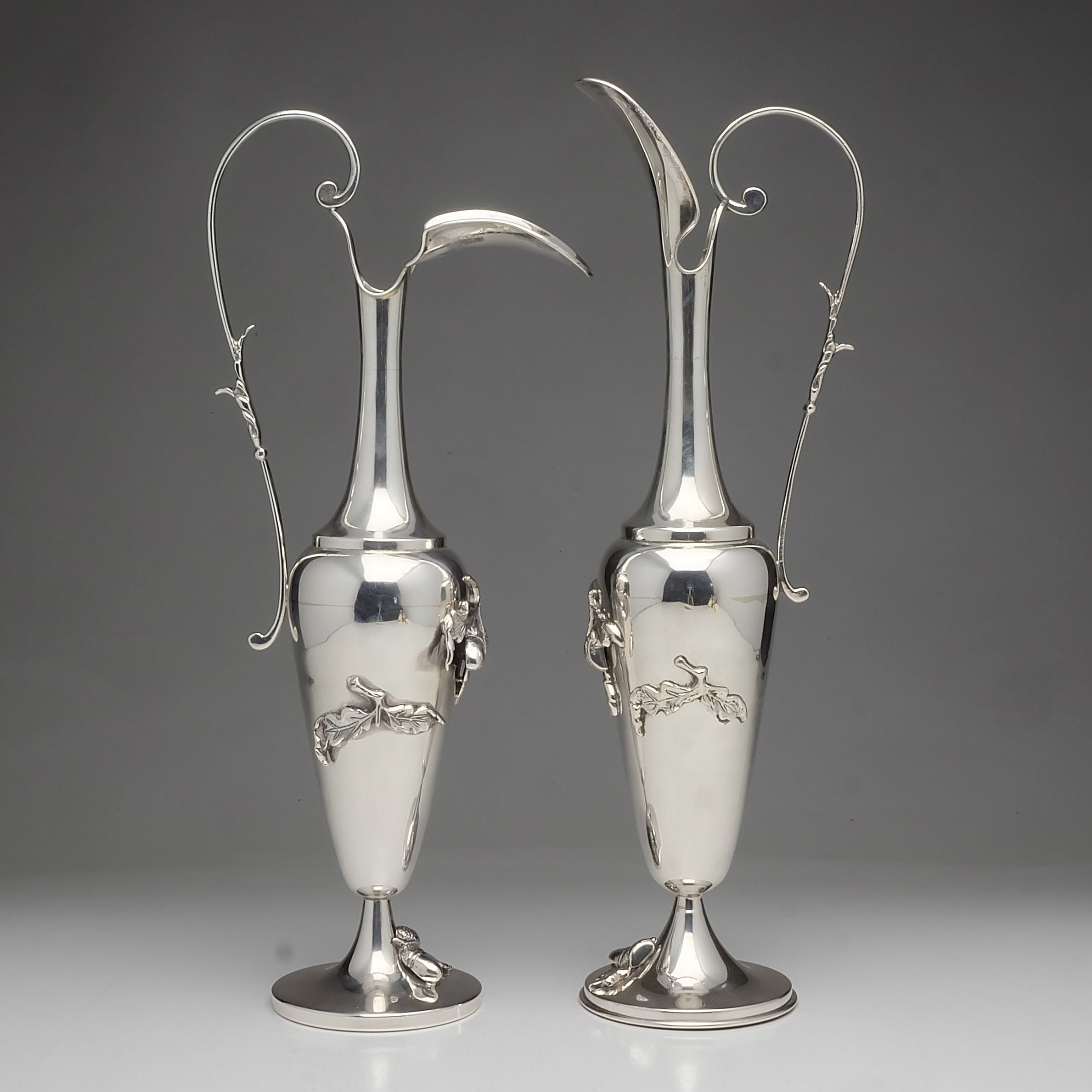 'Pair of Sterling Silver Ewers with Applied Acorns and Leaves'