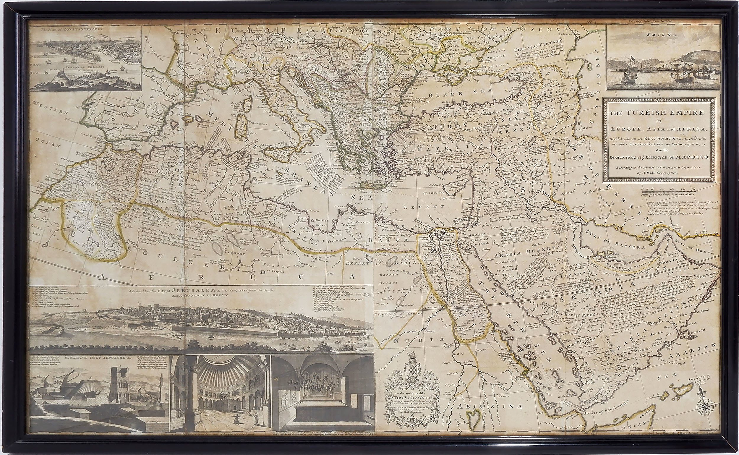 'Large Antiquarian Hand Coloured Map of the Turkish Empire '