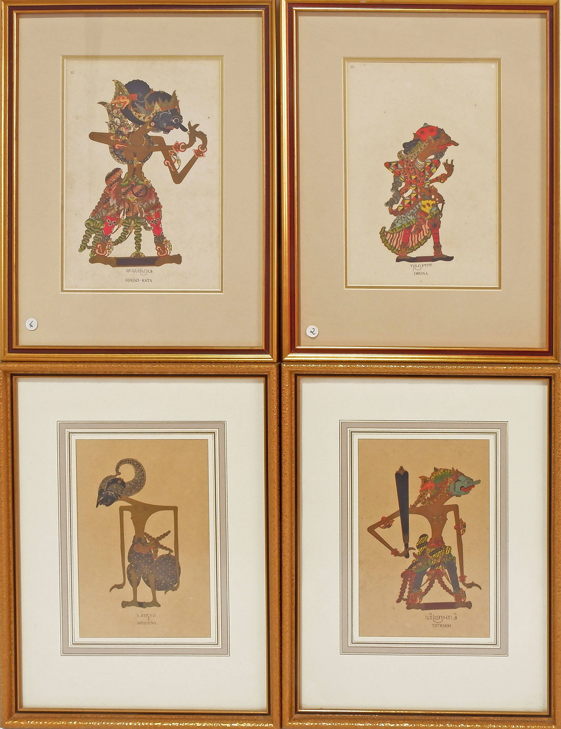 'Group of Four Framed Indonesian Puppet Series Including Ardjoena, Djajad-Rata, Drona and Tjitraksi'