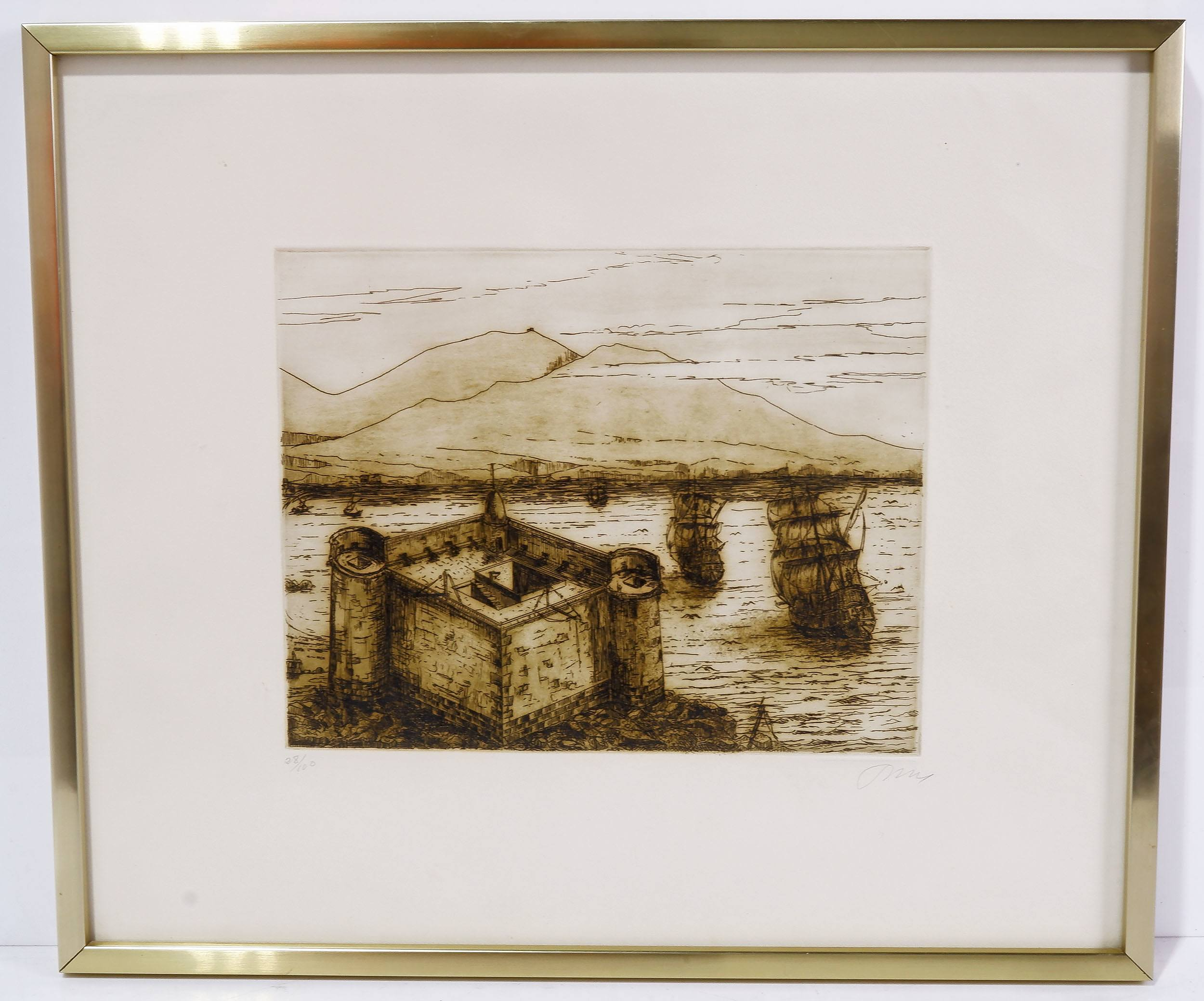 'Sepia Tint Etching of Puerto De La Luz Spain, Artist Unknown'