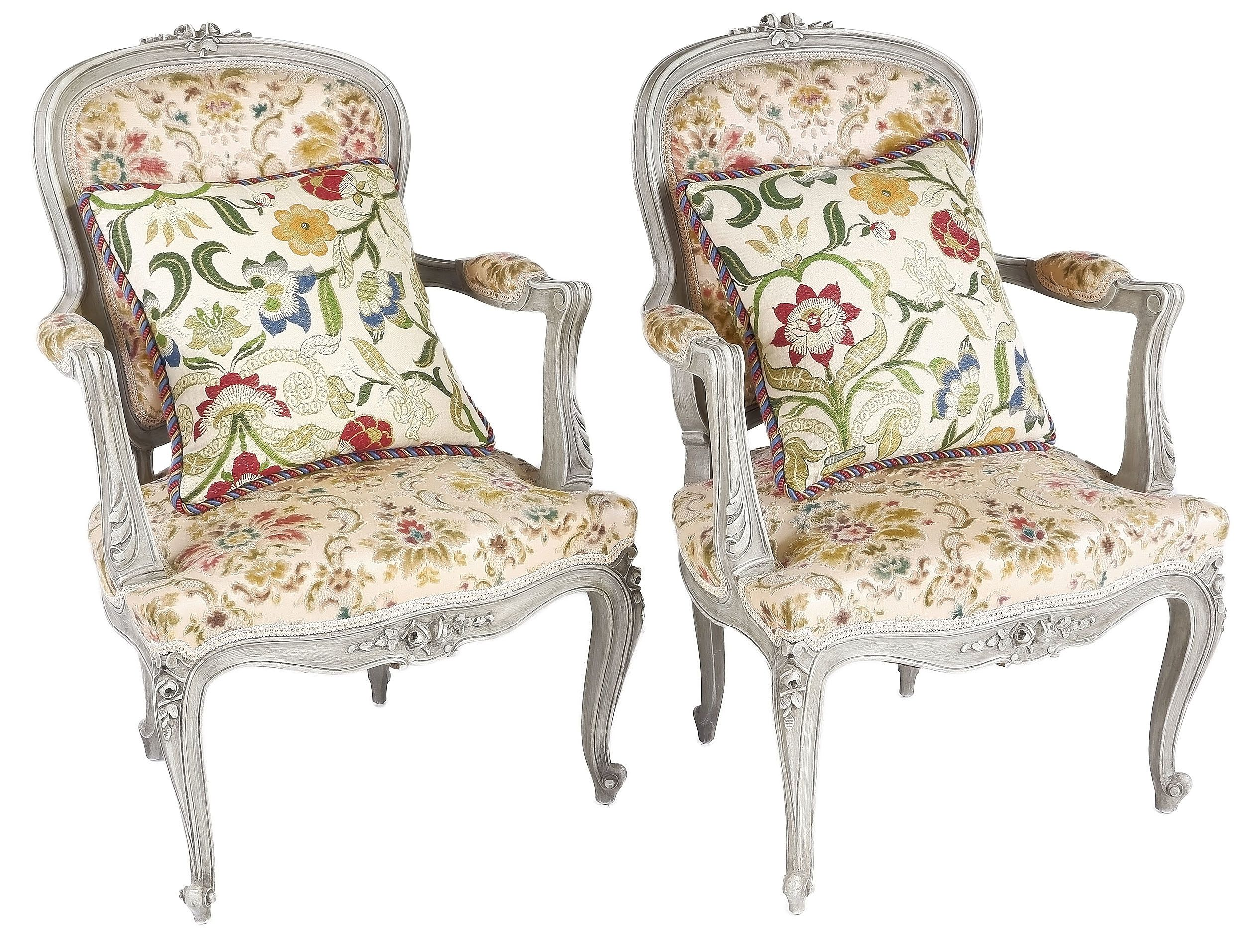 'Pair Louis Style Lime Painted Armchairs with Cut Velvet Upholstery'