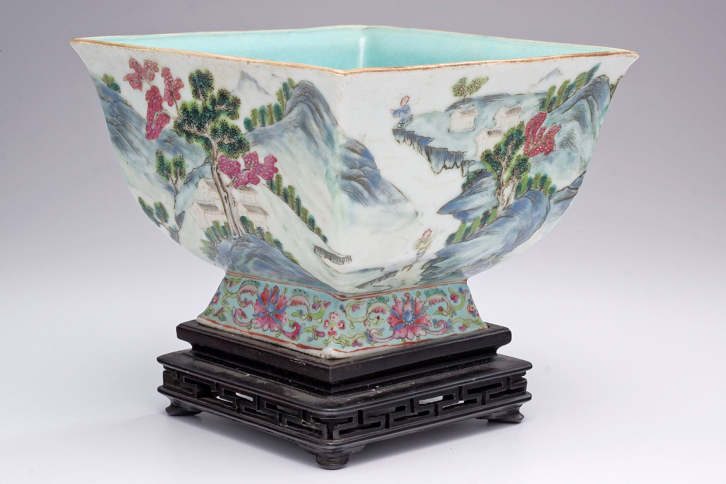 'Chinese Famille Rose Square Bowl with Turquoise Interior, Unmarked, Late 19th Century'