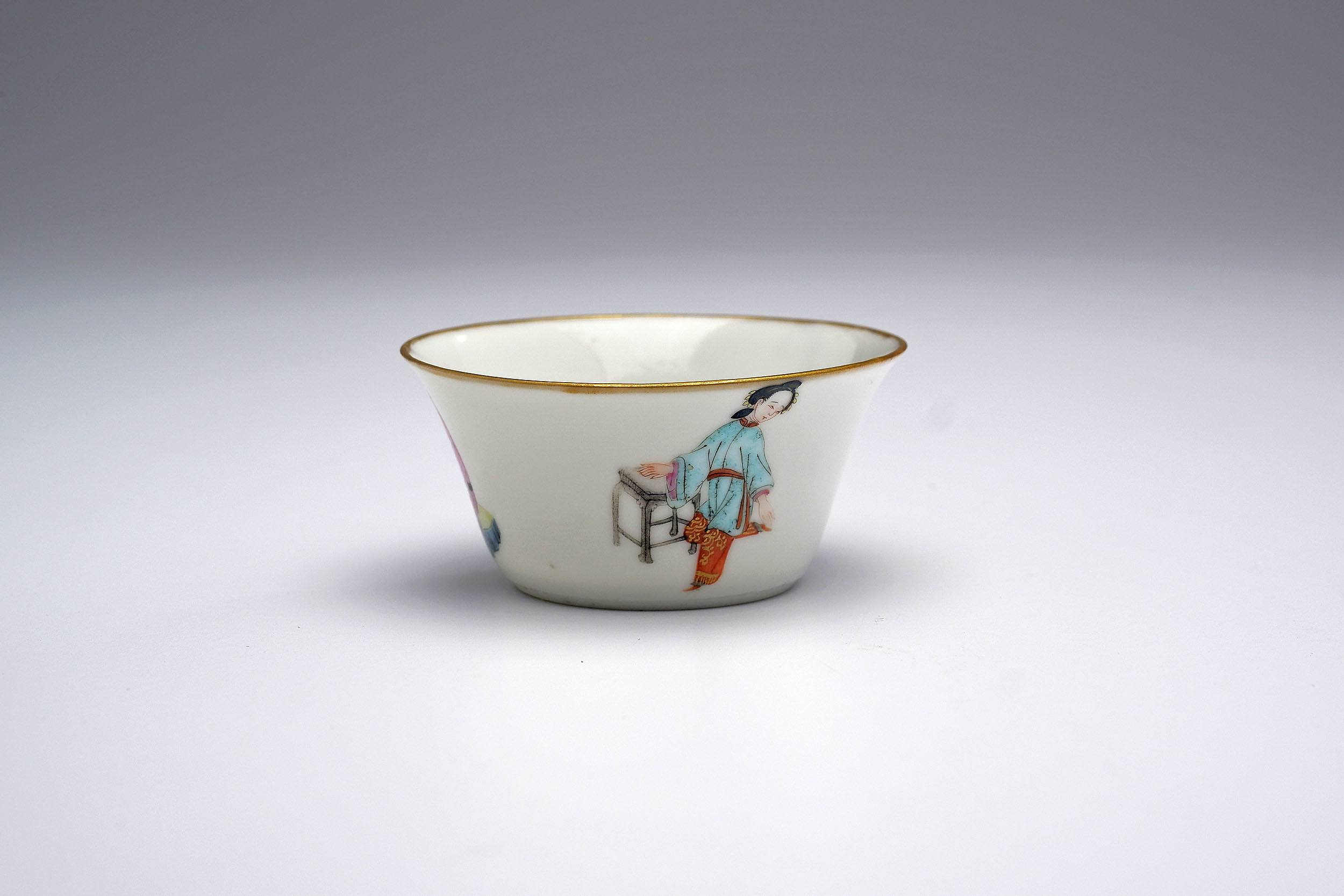 'Finely Potted Chinese Famille Rose Wine Cup, Qing Dynasty, 19th Century'