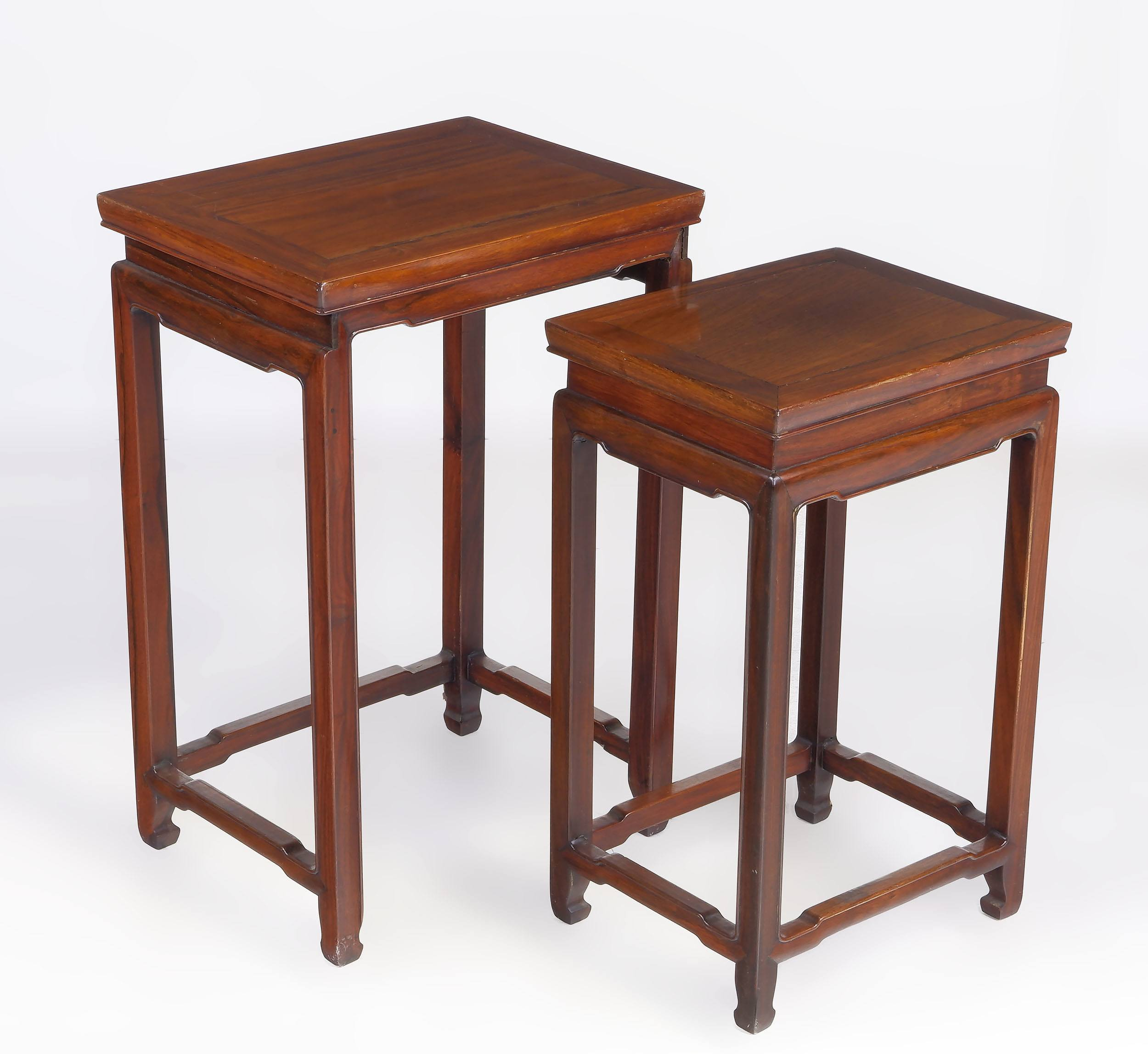 'Two Chinese Rosewood Nesting Tables Mid 20th Century'