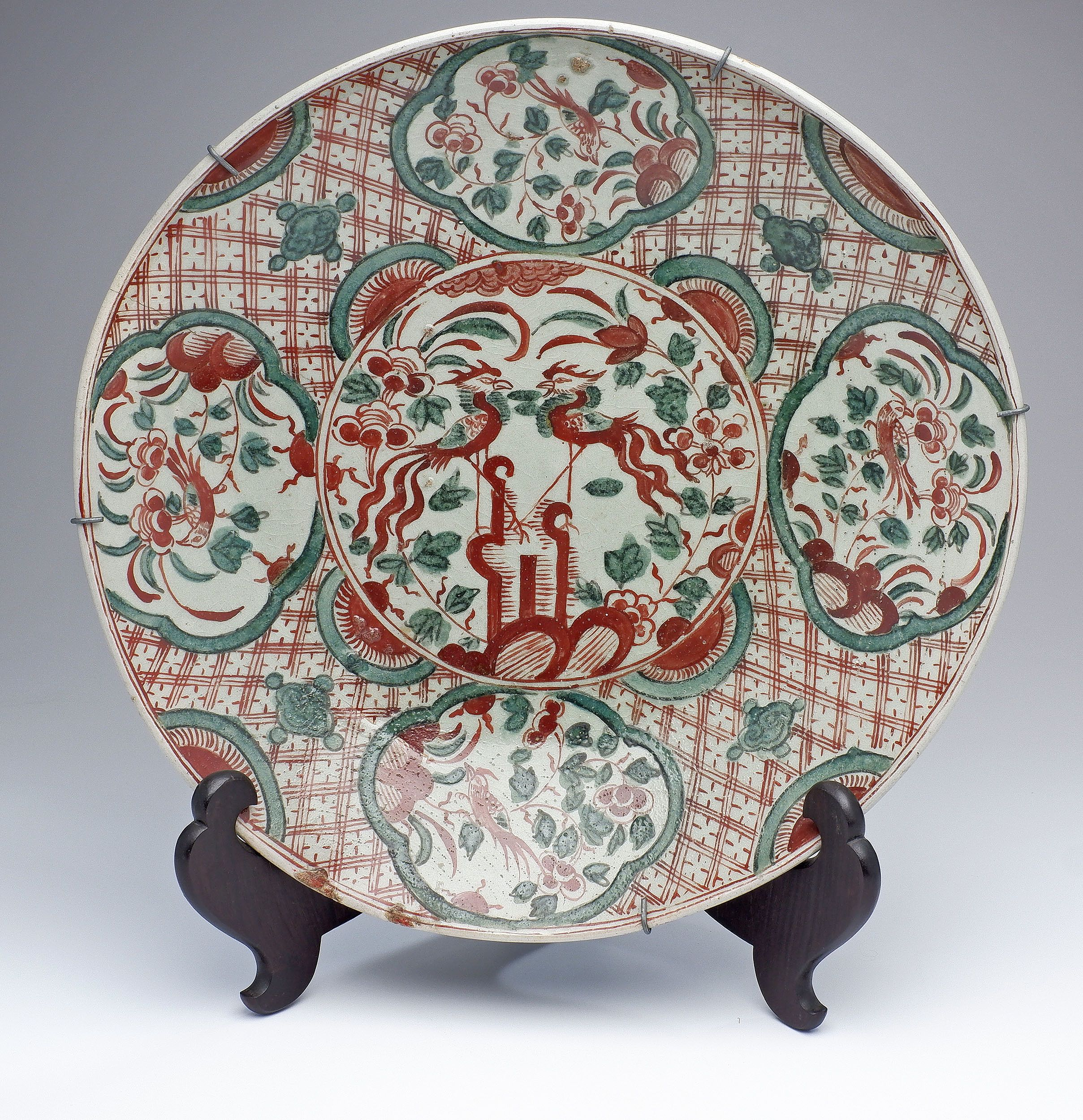 'Chinese Late Ming Zhangzhou Swatow Ware Large Dish Decorated with Phoenix and Birds, Late 16th/17th Century'