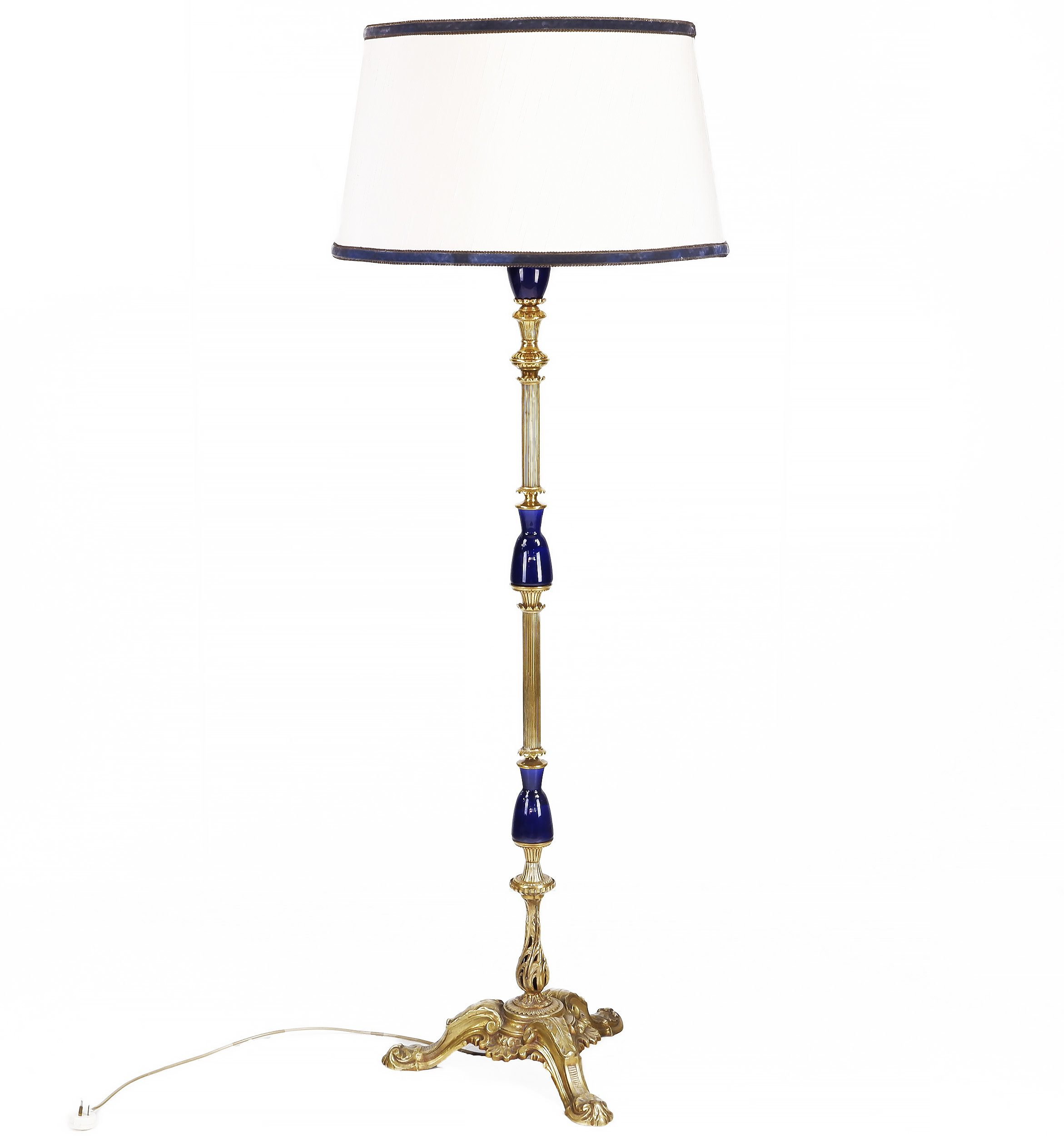 'Vintage Brass and Cobalt Blue Porcelain Floor Lamp'
