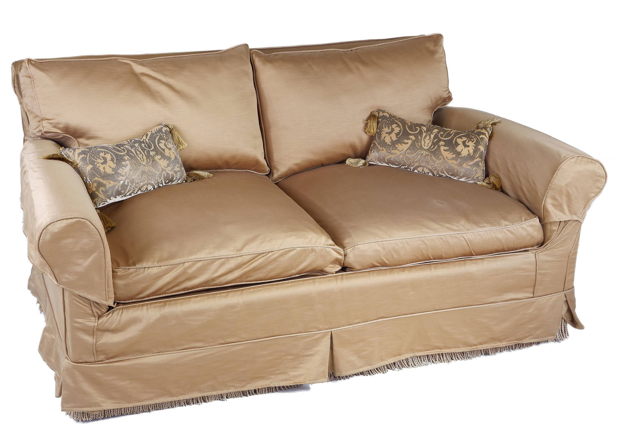 'Pair of Bronze Coloured Silk Upholstered Lounges and Cushions'