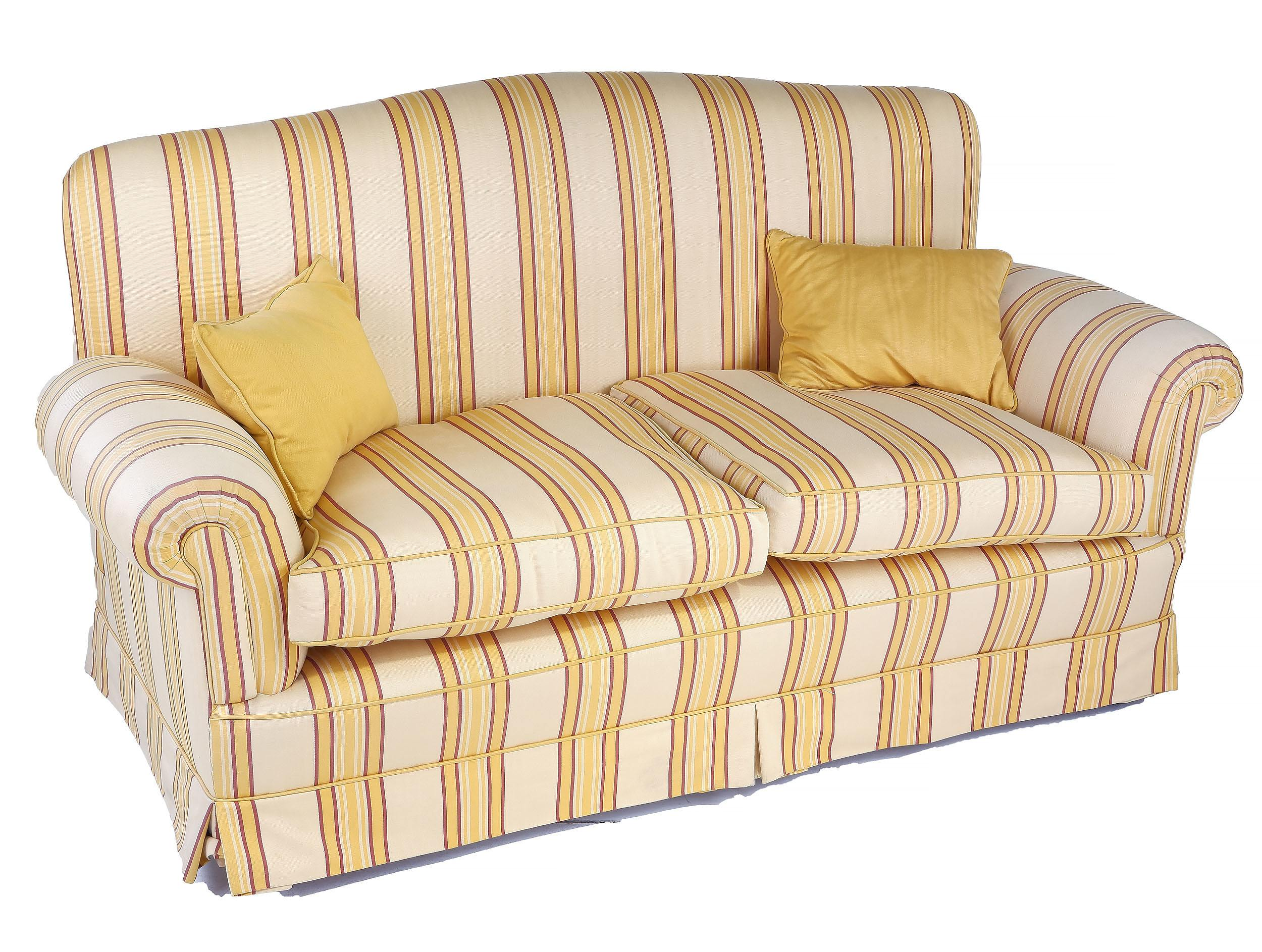 'Two Seater Lounge with Striped Upholstery'
