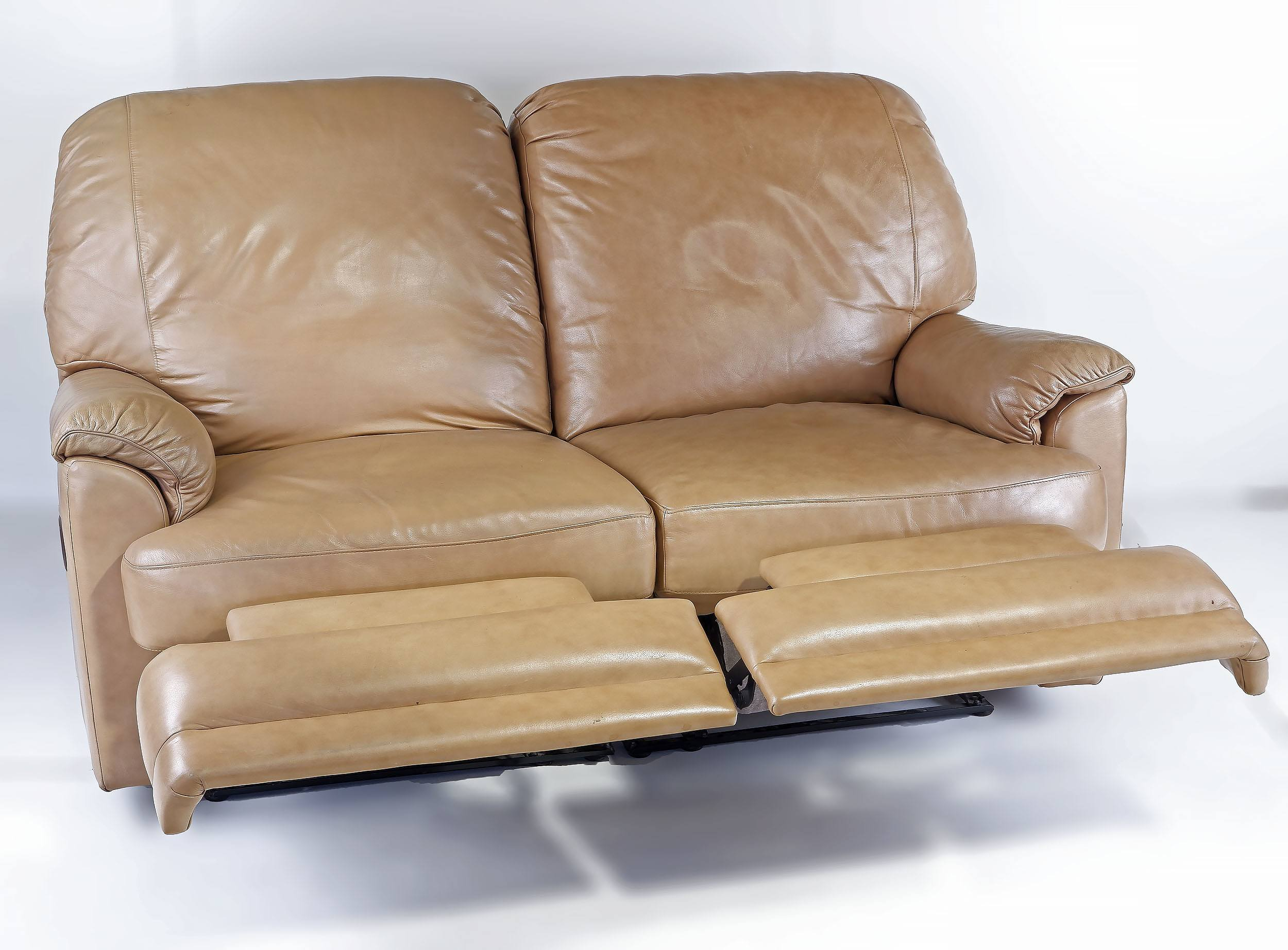 'Moran Leather Two Seater Beige Leather Recliner Lounge'