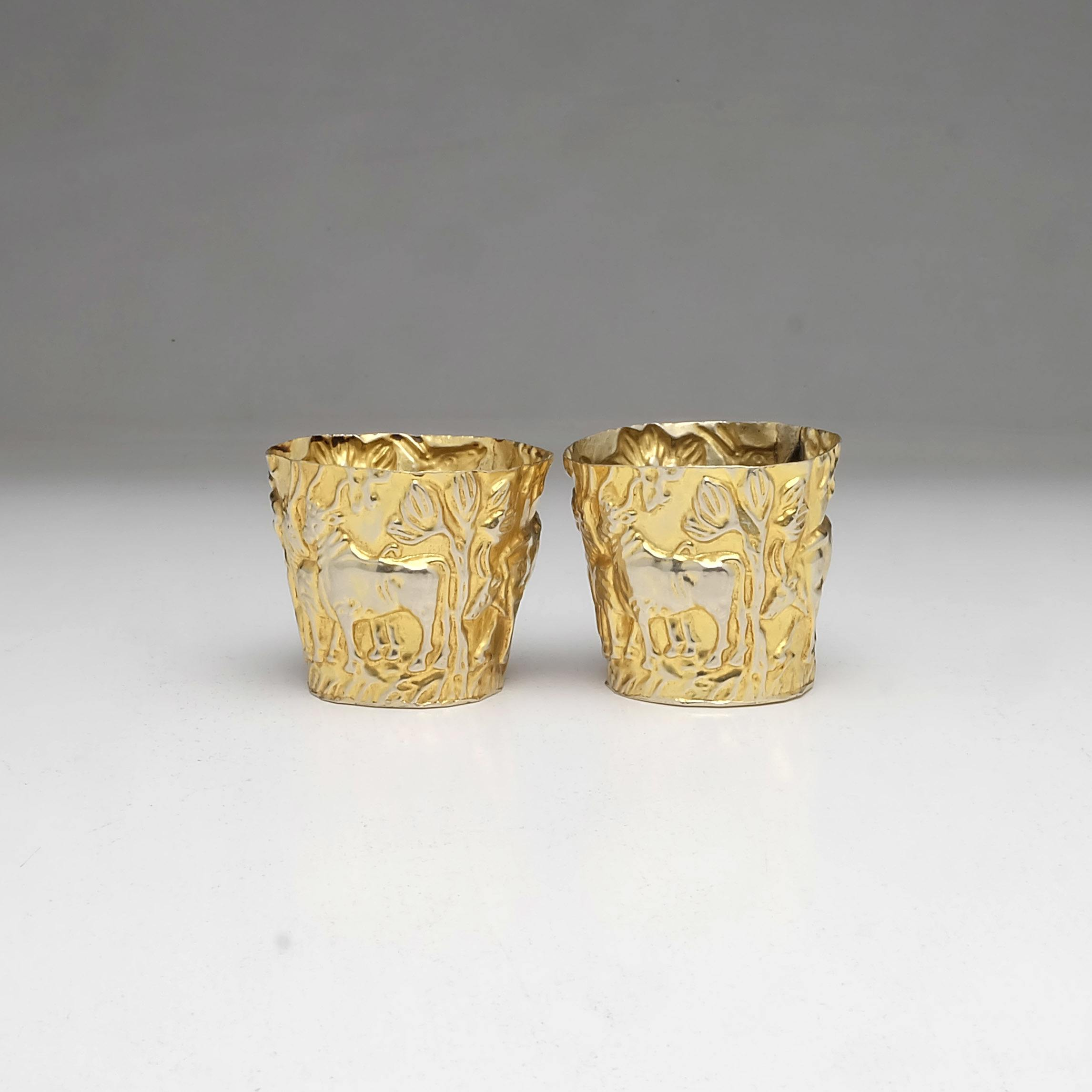 'Pair Silver Gilt Repousse Vodka Cups Probably Greek'