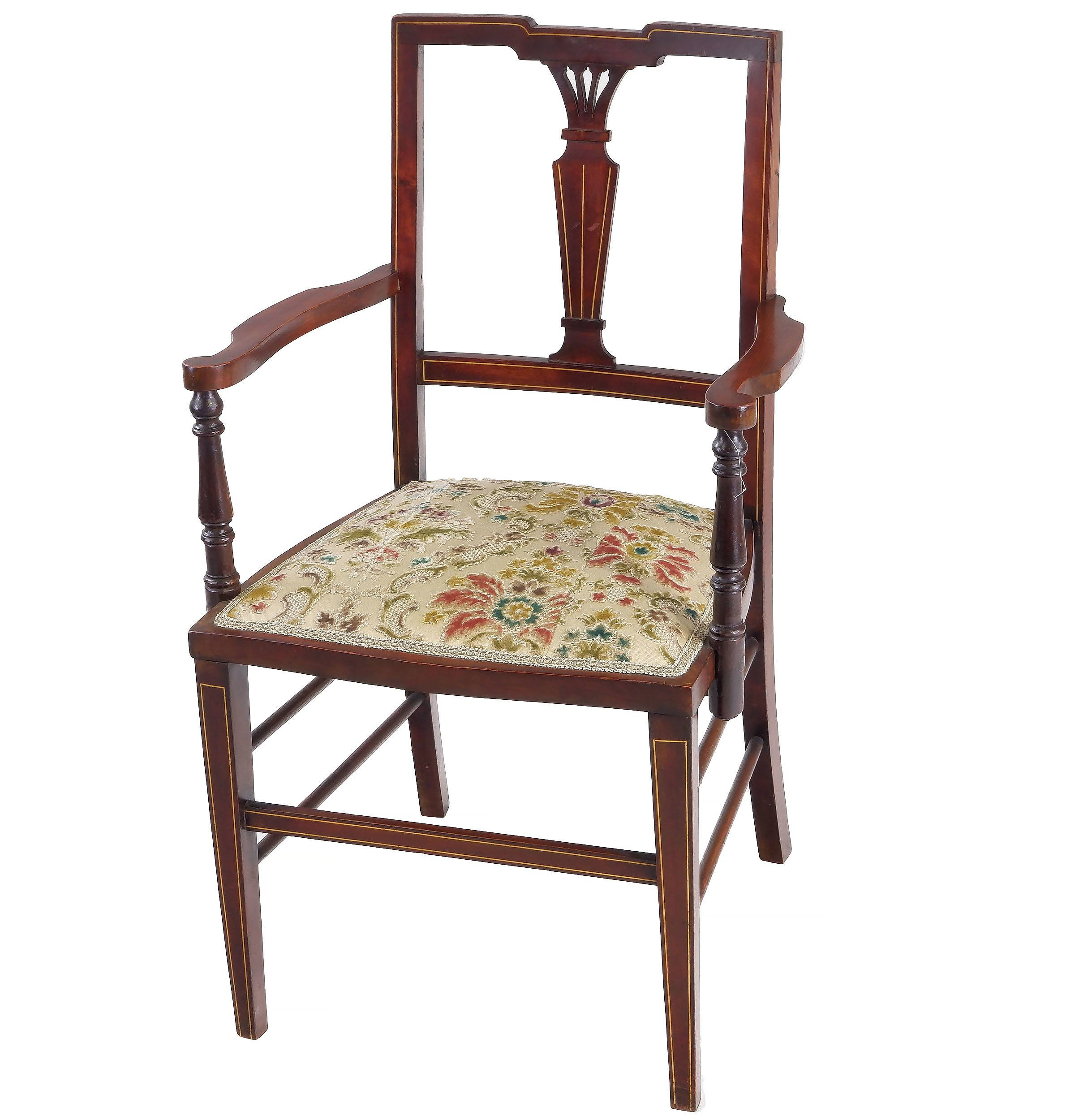 'Sheraton Revival String Inlaid Mahogany Armchair, Early 20th Century, and Another Single Chair En Suite'