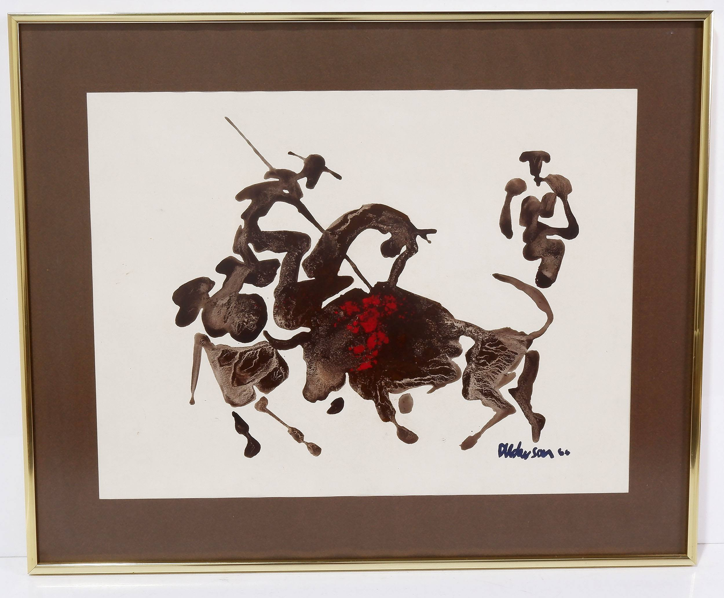 'Ink and Blotter Painting of a Bull Fight After Picasso'