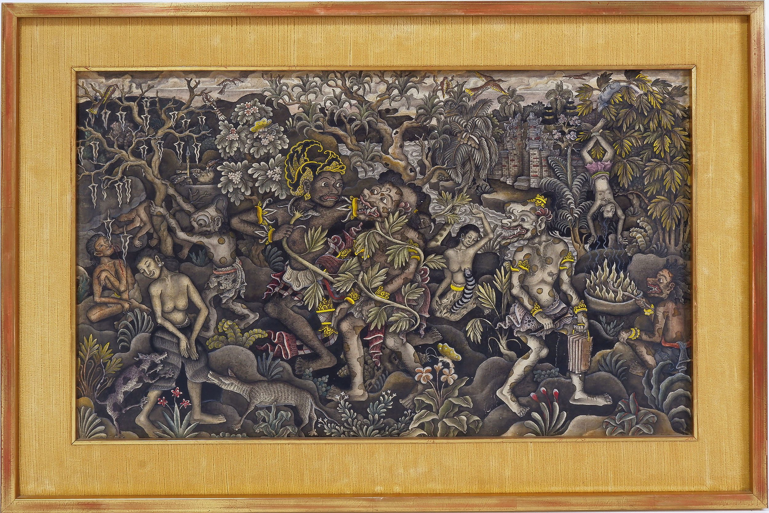 'Balinese Ink and Tempera on Linen, Batuan Mid 20th Century '