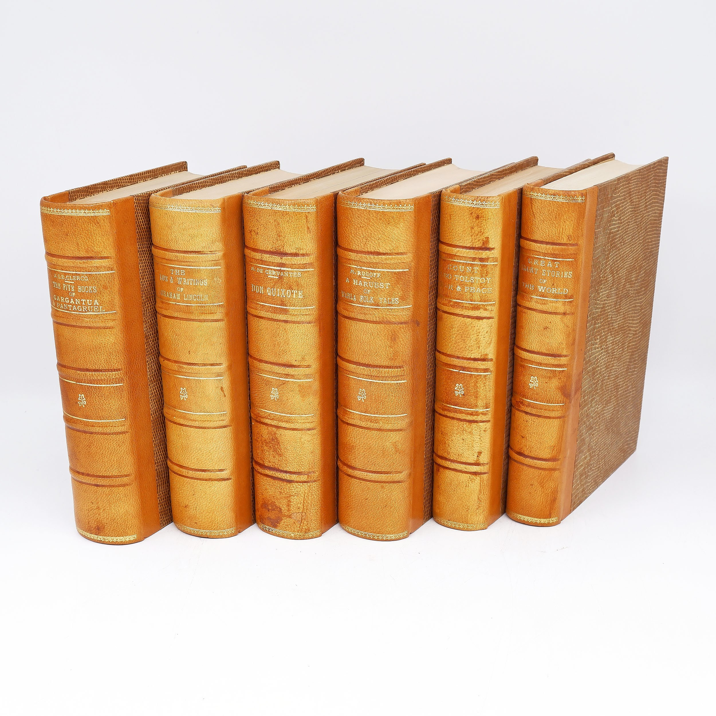 'Six Various Gilt Tooled Leather Bound Books Including Great Short Stories of the World, A Harvest of World Folk Tales and More'