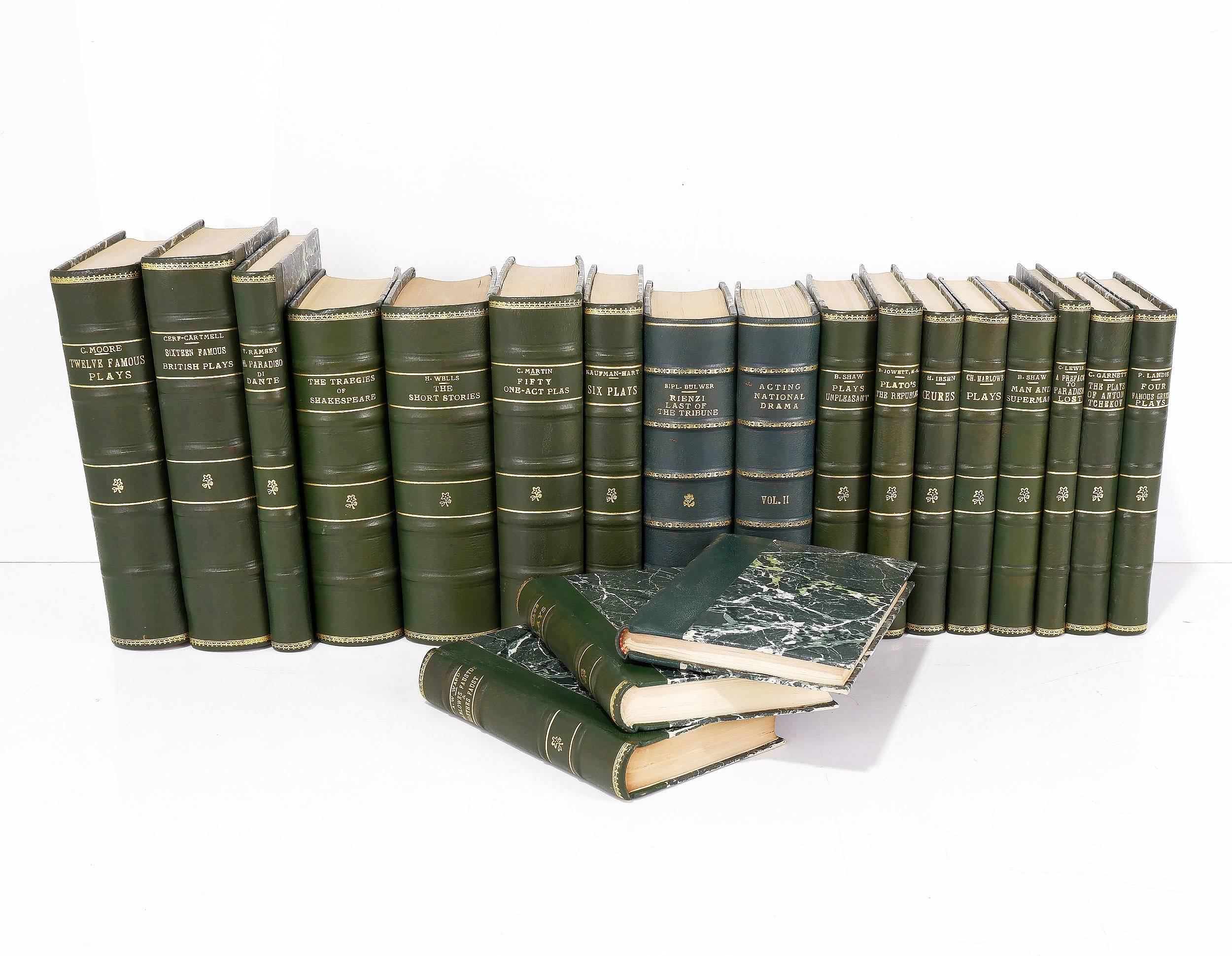 'Twenty Various Gilt Tooled Leather Bound Books Including Plays by Oscar Wilde, Kaufman & Hart, Bernard Shaw and More '