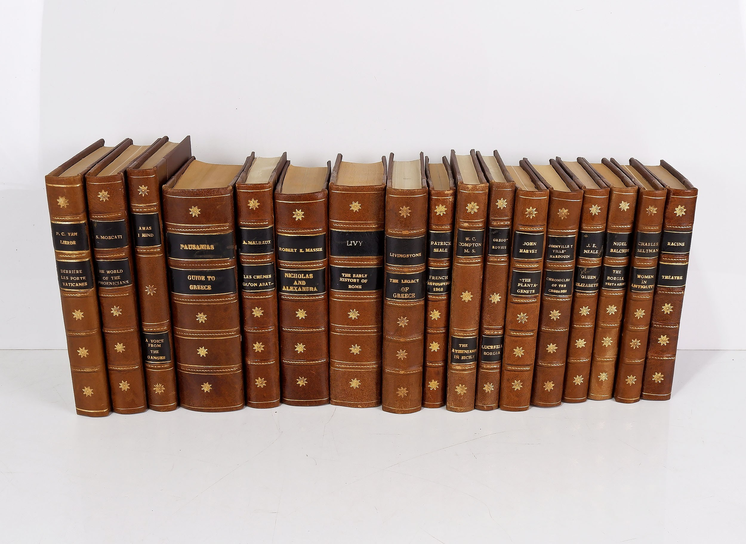'Seventeen Various Gilt Tooled Leather Bound Books Including Works by Patrick Seale, John Harvey, Nigel Balchin and More'