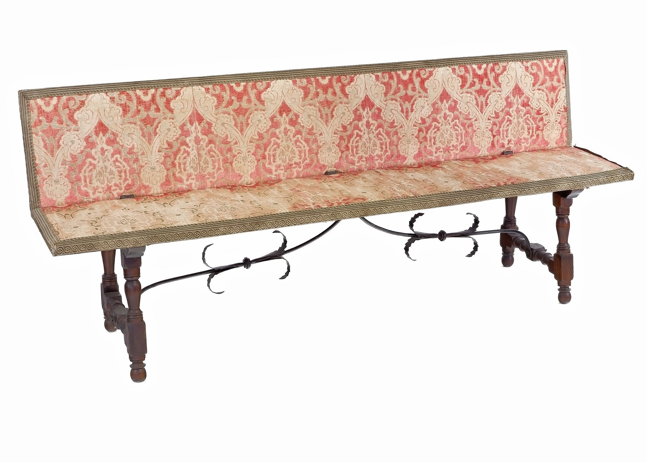 'Antique Spanish Bench with Cut Velvet Upholstery and Iron Stretcher'