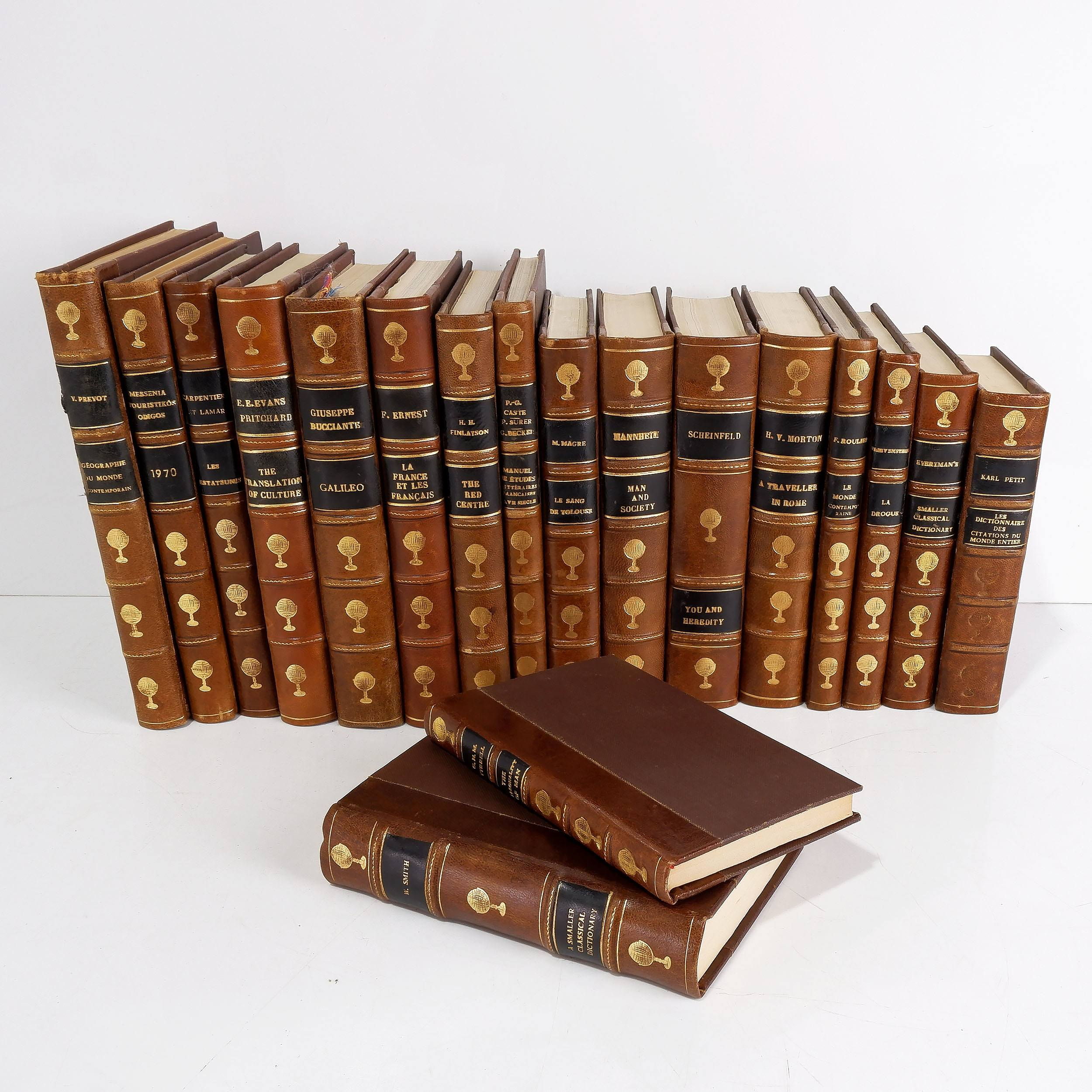 'Eighteen Various Gilt Tooled Leather Bound Books Including Works by H. V. Mortan, H. H. Finlayson, William Smith and More              '