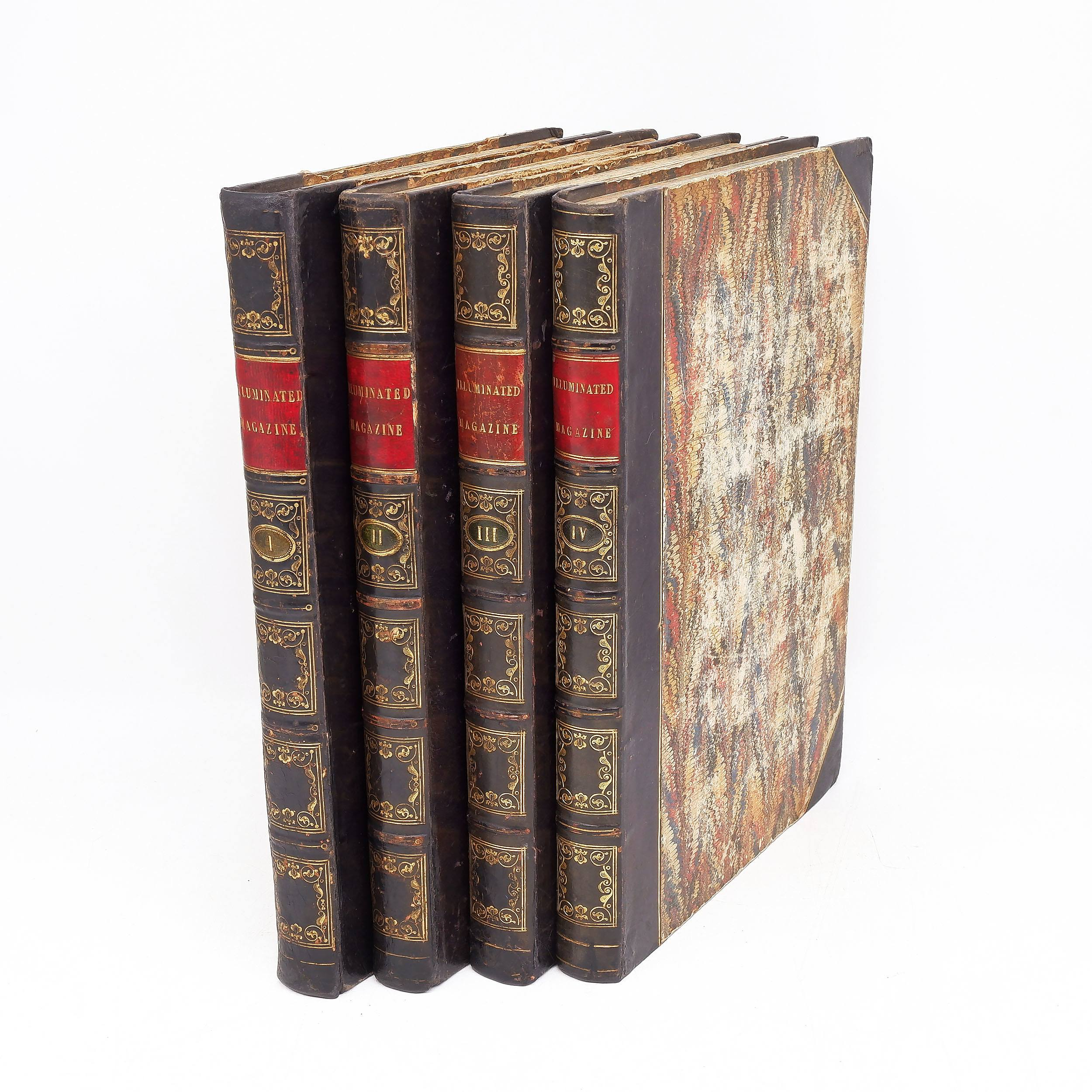 'Volumes 1-4 of the Illuminated Magazine, Gilt Tooled Leather Bound Books, 1843-1845'