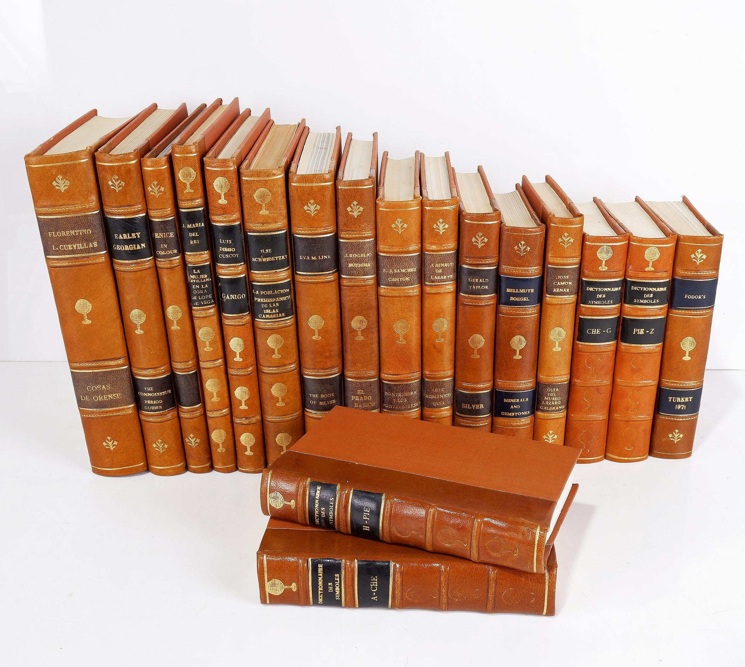 'Eighteen Various Gilt Tooled Leather Bound Books Including Dictionnaire Des Symboles, Earley Georgian, Luis Diego Cuscoy and More'