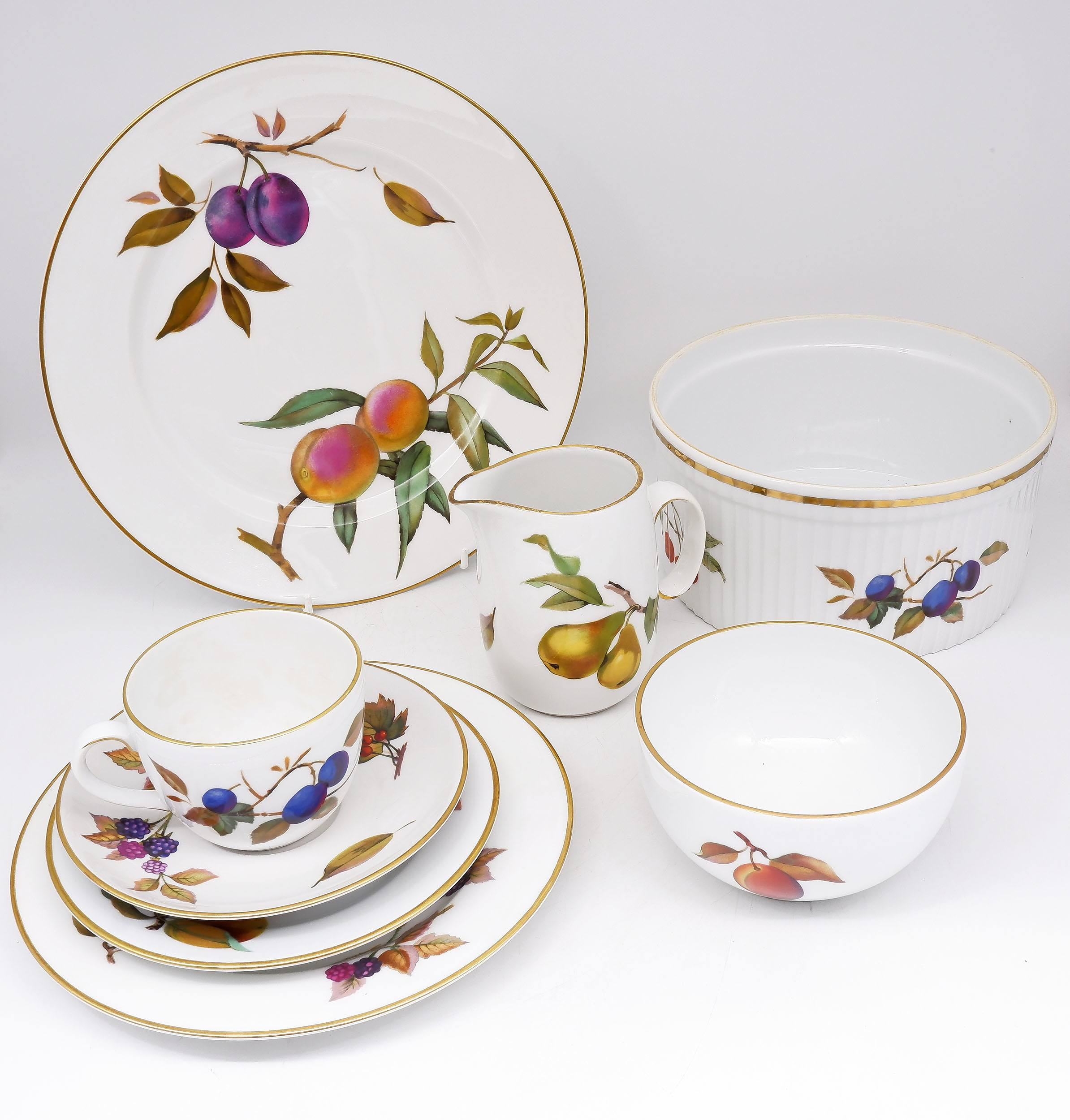 'Royal Worcester Evesham Gold Porcelain Dining Set for Twelve with Serving Ware'