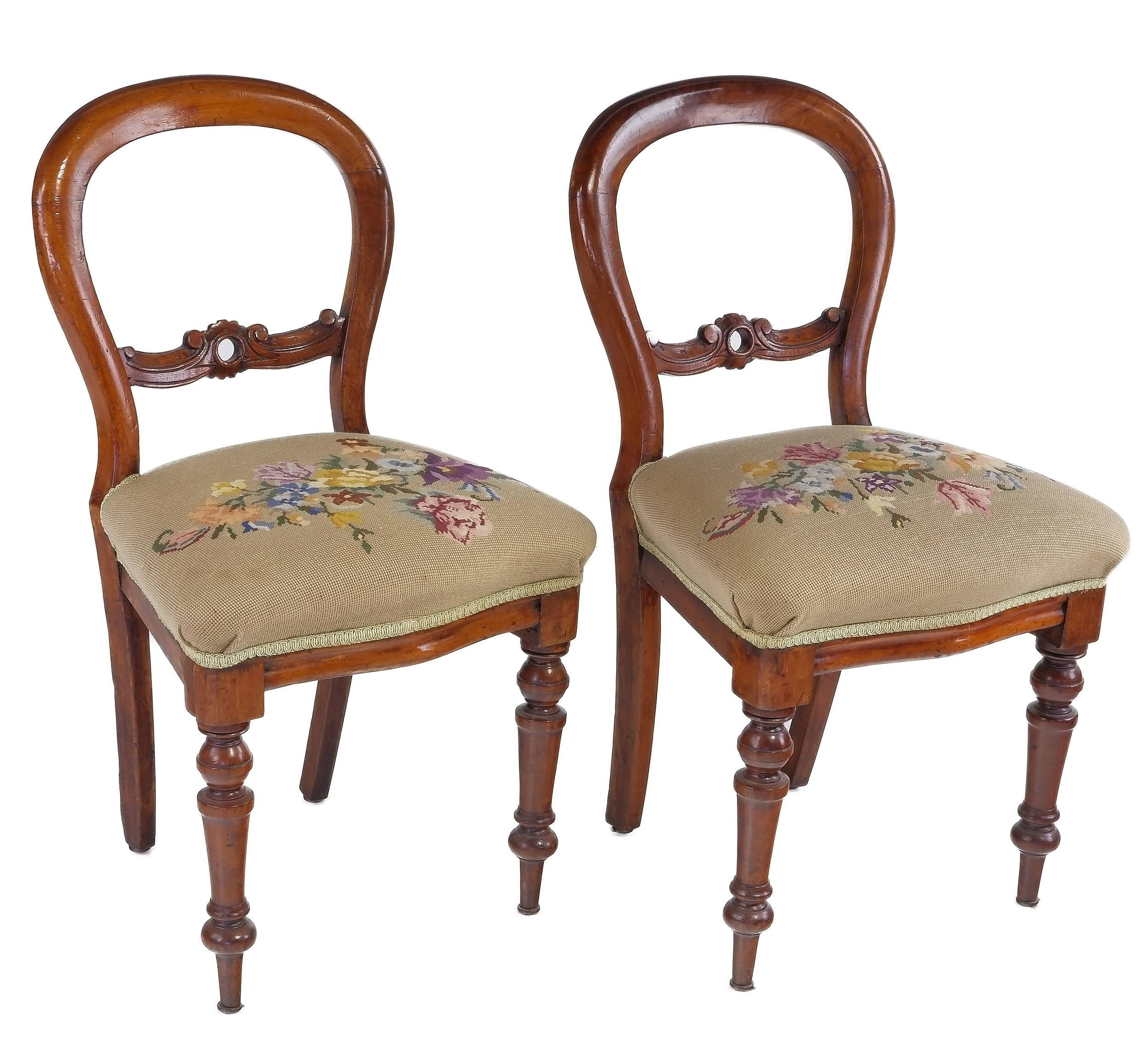 'Pair of Victorian Mahogany Balloon Back Chairs Circa 1880'