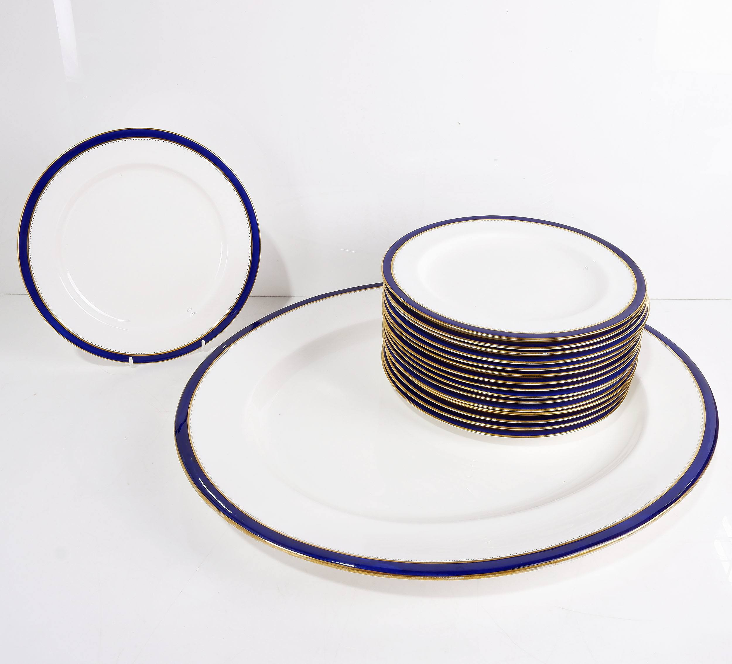 'Sixteen Royal Worcester Leadless Glaze Cobalt Blue Plates and Serving Dish'