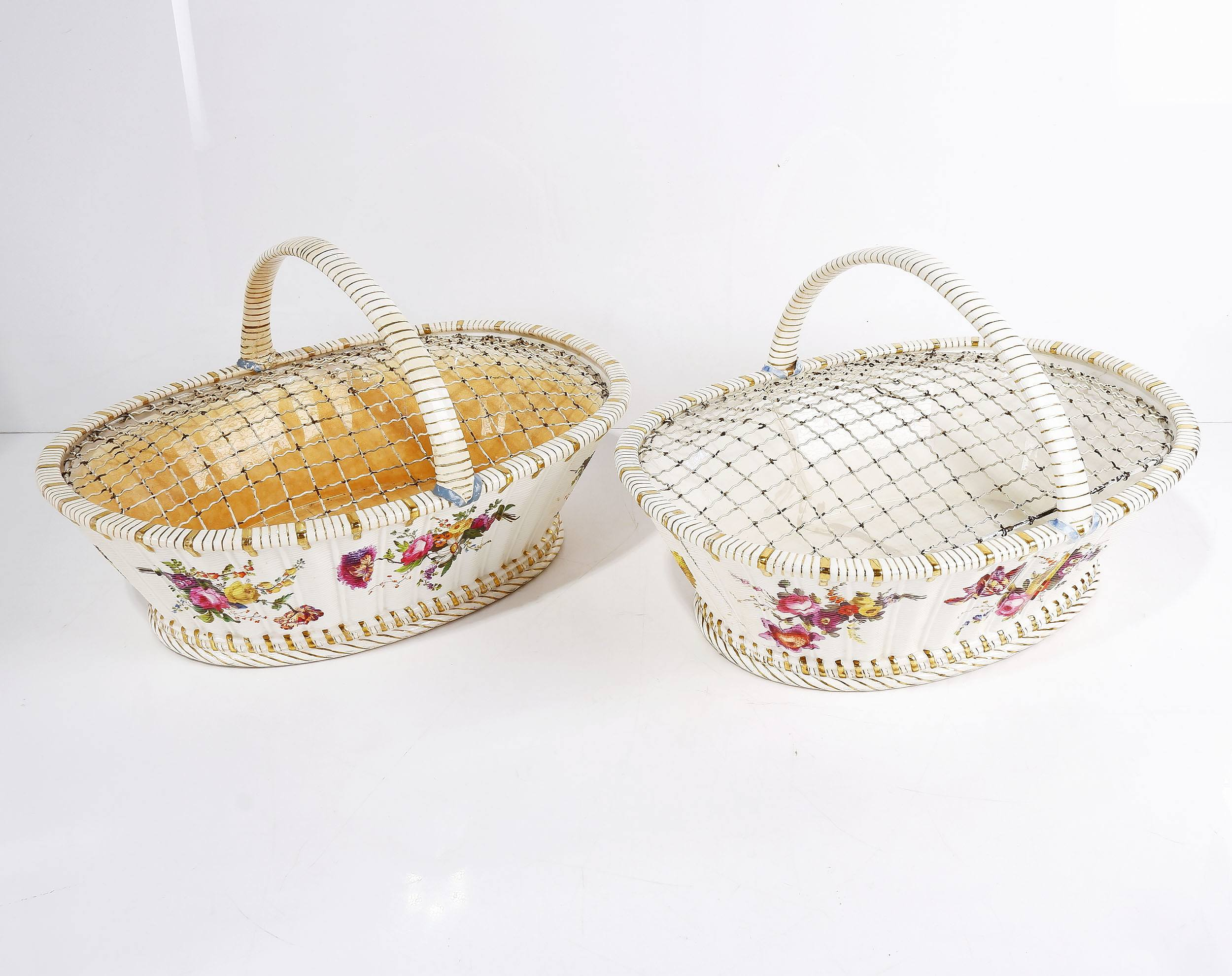 'Pair of 19th Century English Porcelain Cake Baskets'