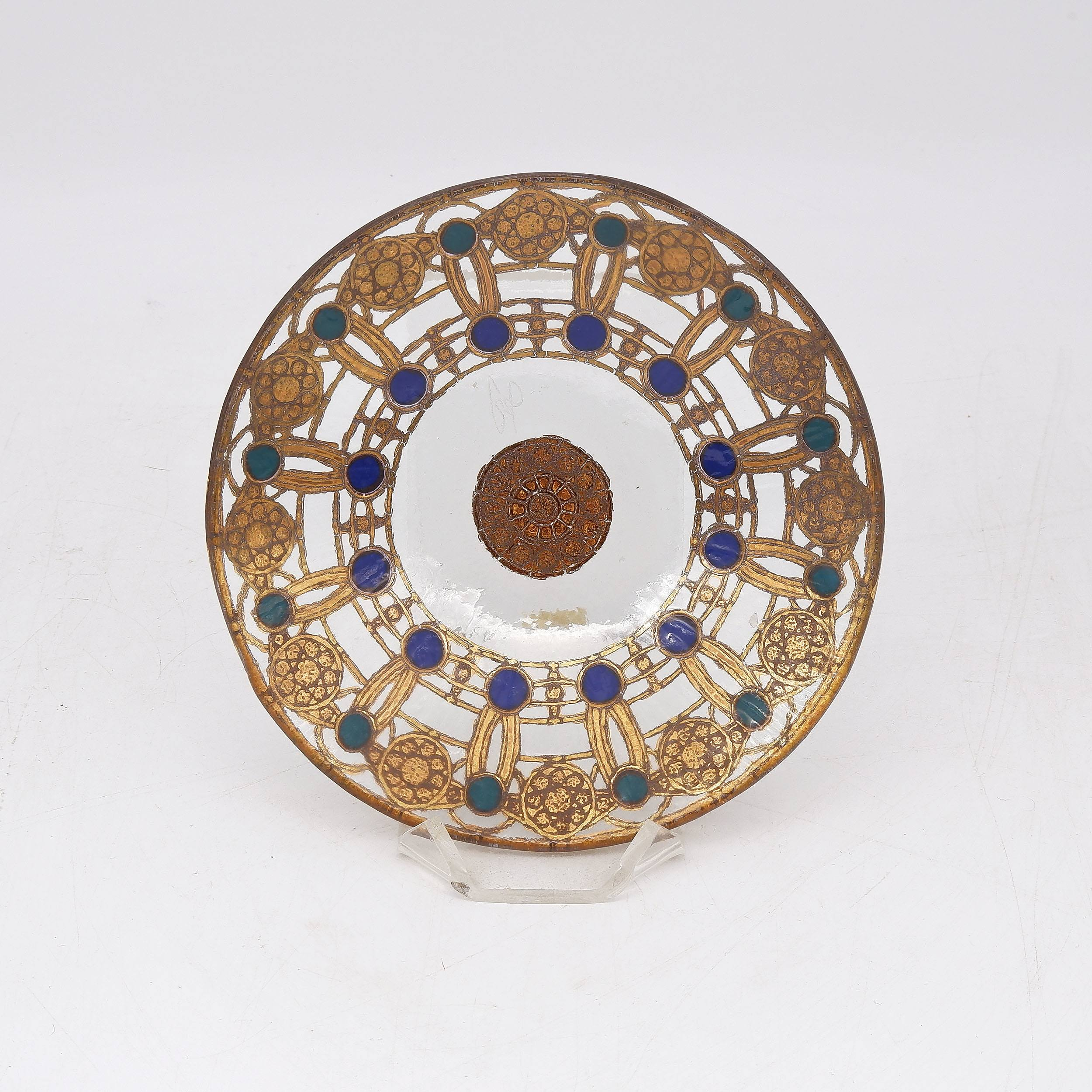'Peter Crisp Small Gilded and Enamelled Glass Dish and Stand'