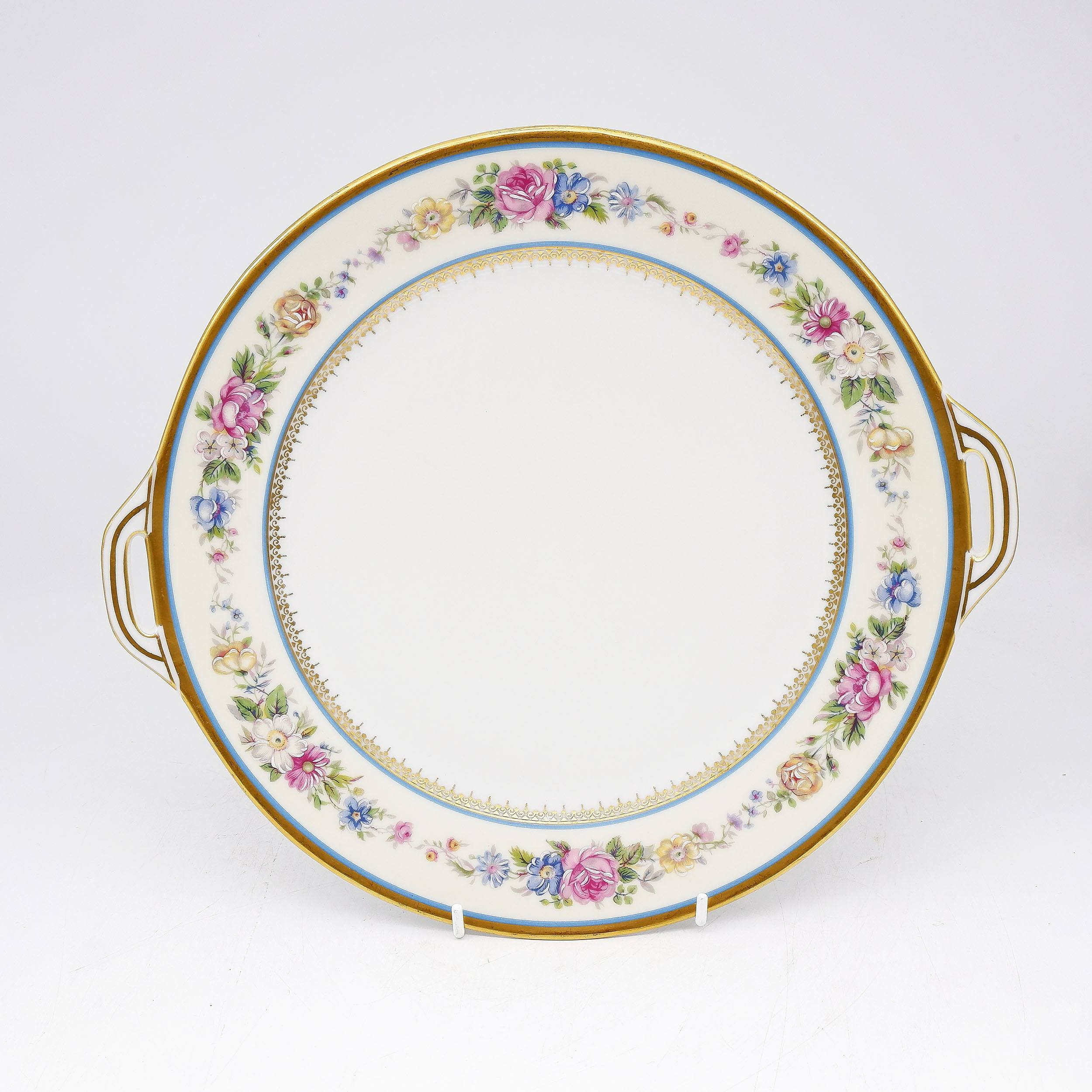 'Hand Painted Limoges Porcelain Tray with Ormolu Rim '