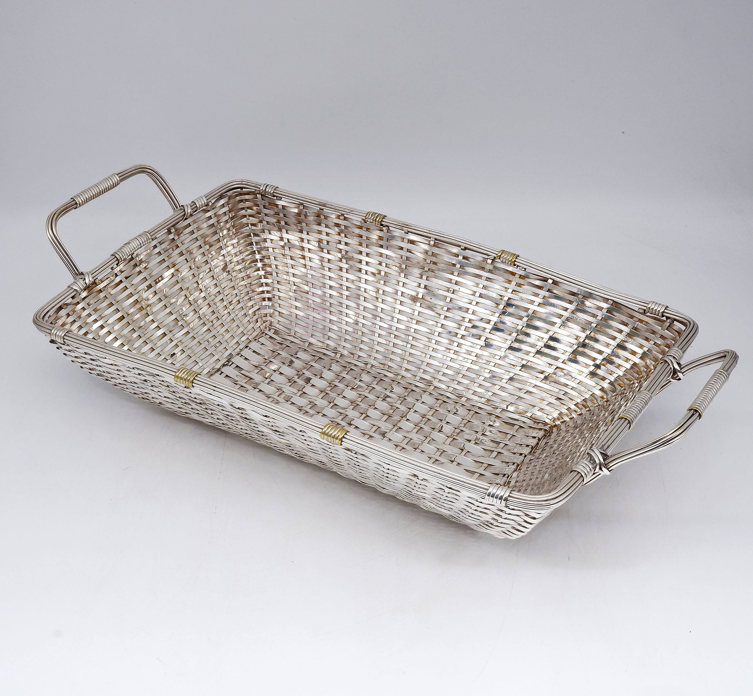 'Silver Plated Woven Brass Bread Basket'