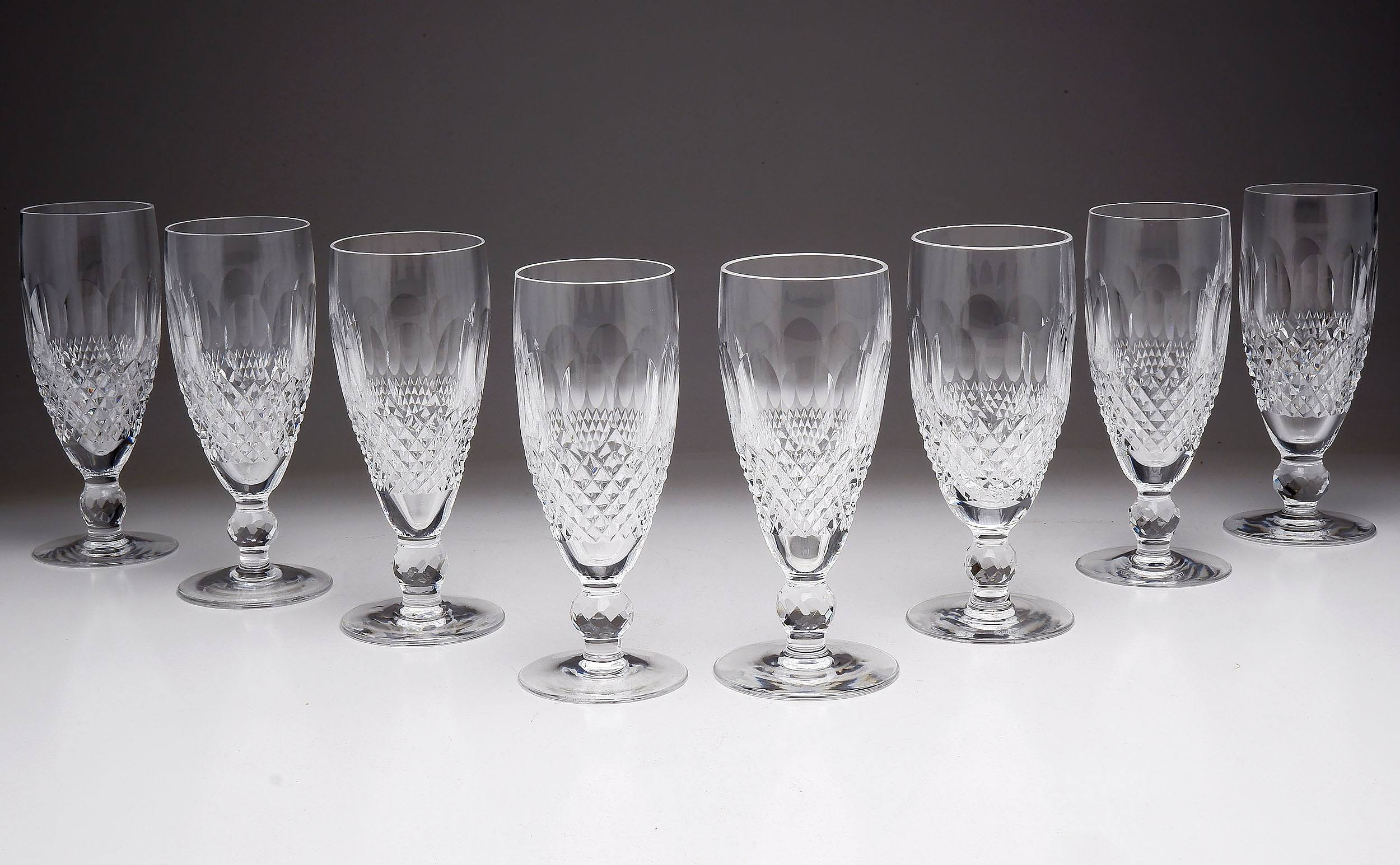 'Eight Waterford Crystal Champagne Flutes'