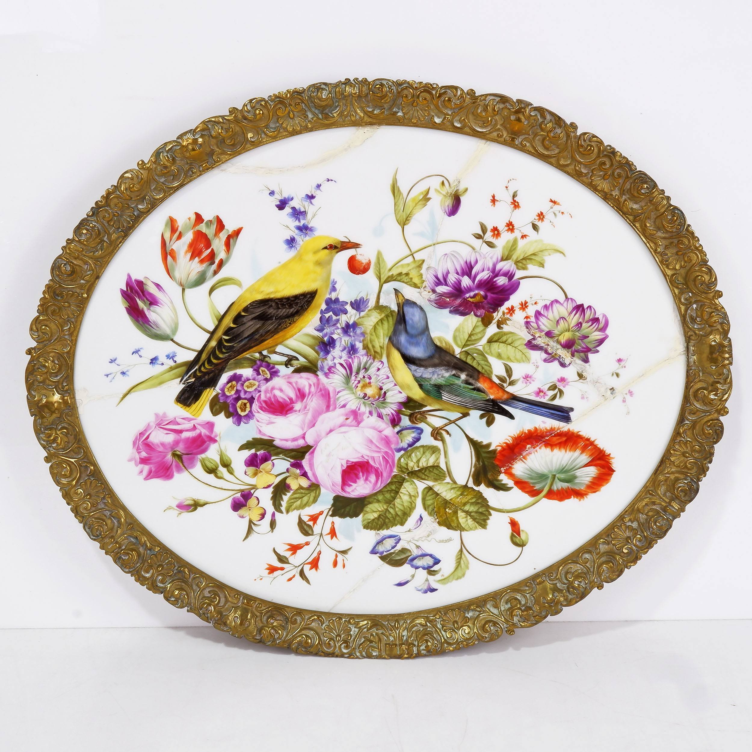 '19th Century Continental Ormolu Mounted Porcelain Tray Hand Painted with Birds'