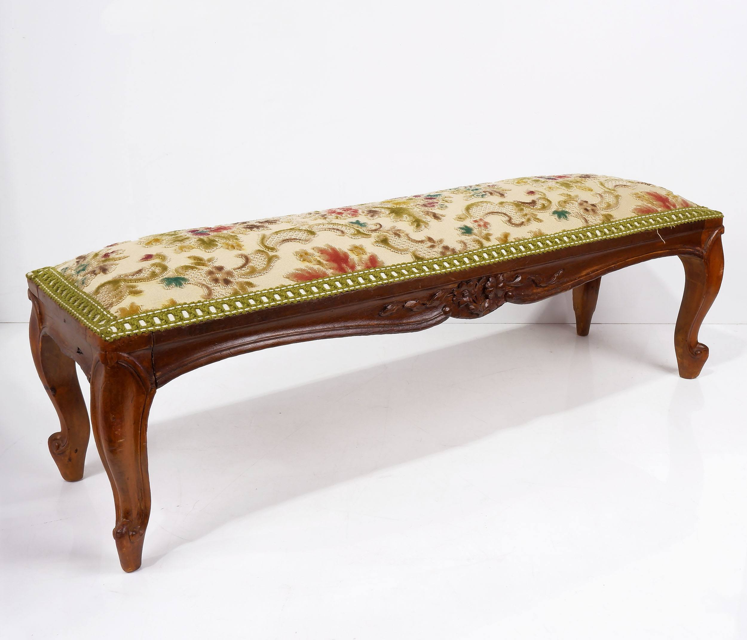 'Louis Style Carved Oak Footstool with Cut Velvet Upholstery'