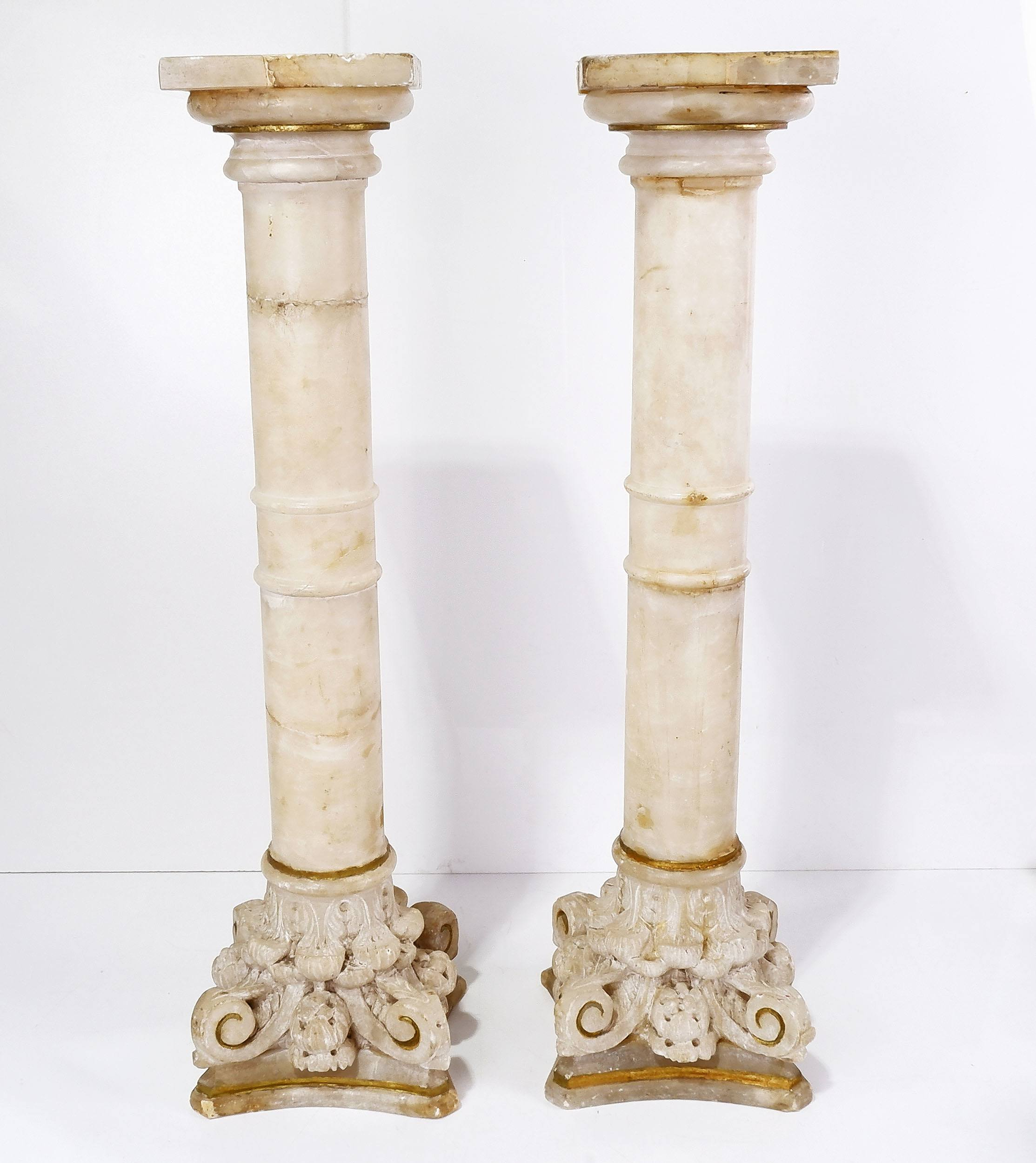 'Pair of Antique Carved Classical Alabaster Columns '