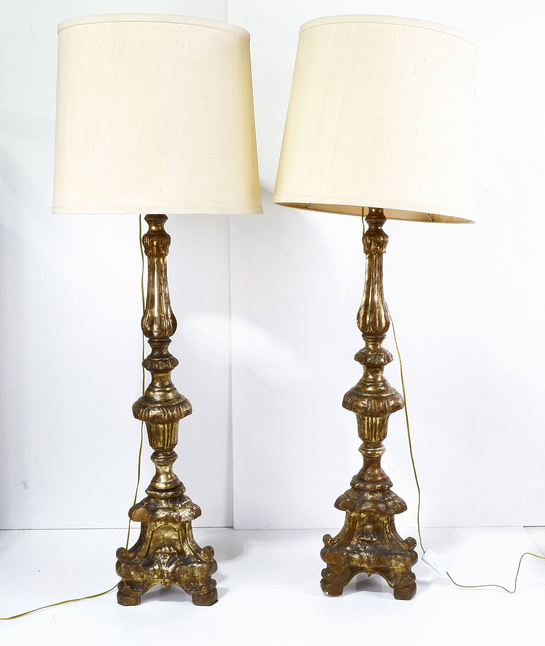 'Pair of Carved Giltwood Torchere Table Lamps'