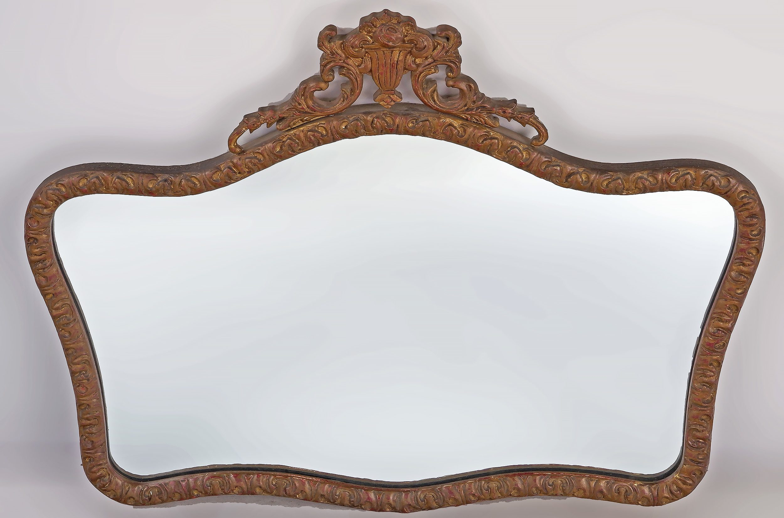 'Vintage Mirror with Carved Wood and Moulded Gesso Frame '