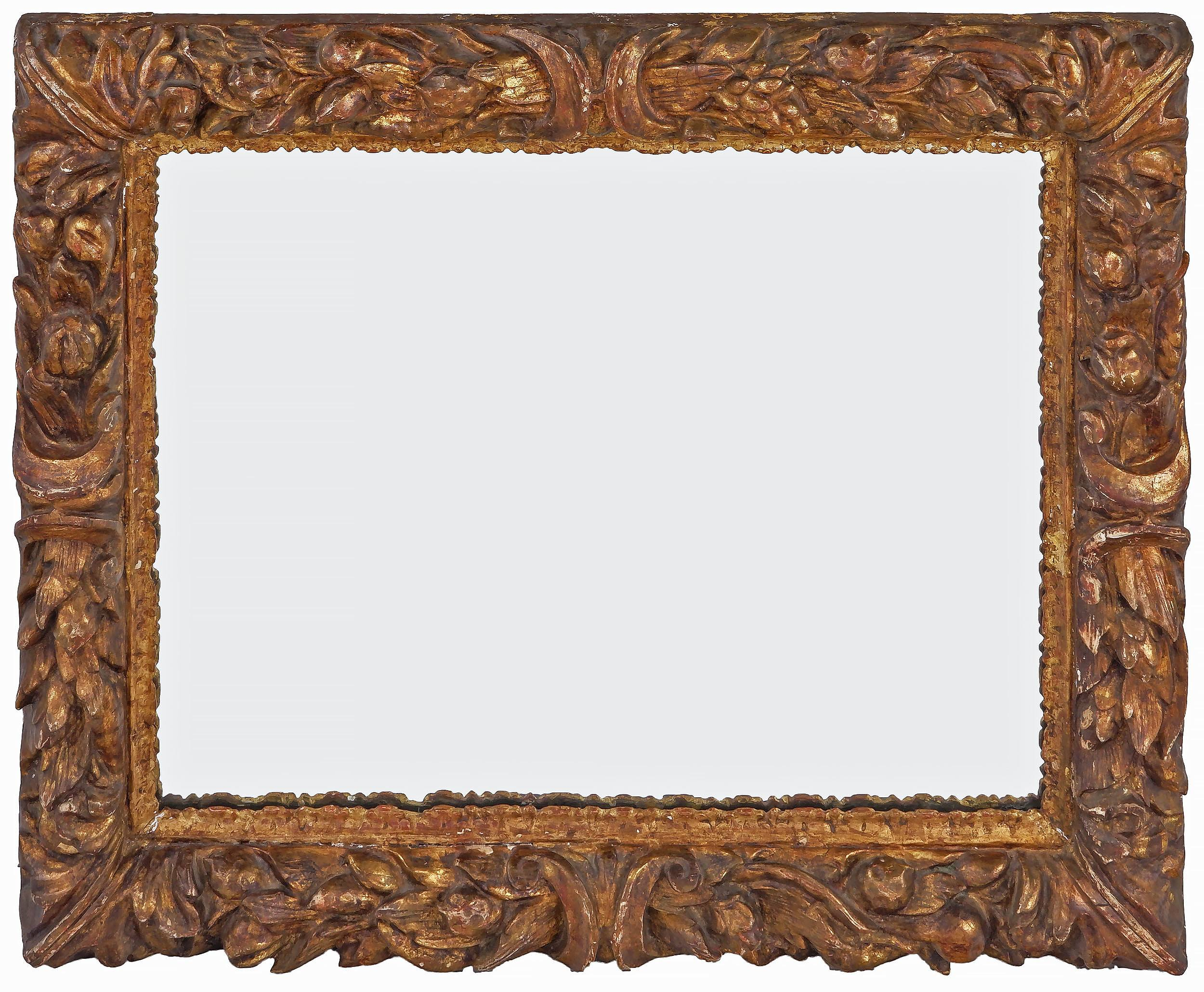 'Antique Italian Carved Giltwood and Moulded Gesso Mirror '