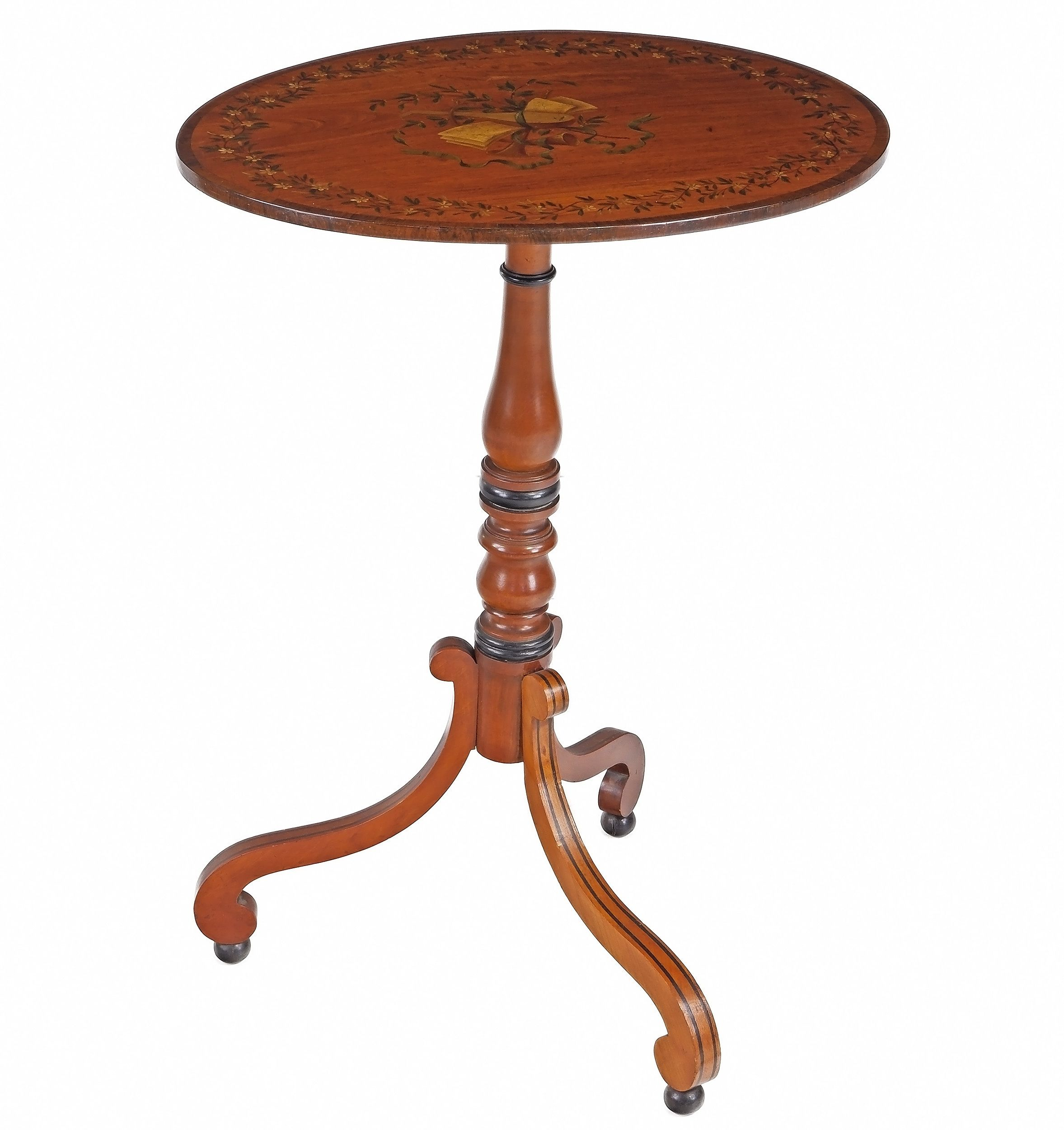 '19th Century Satinwood Tripod Wine Table with Original Polychrome Painted Decoration'