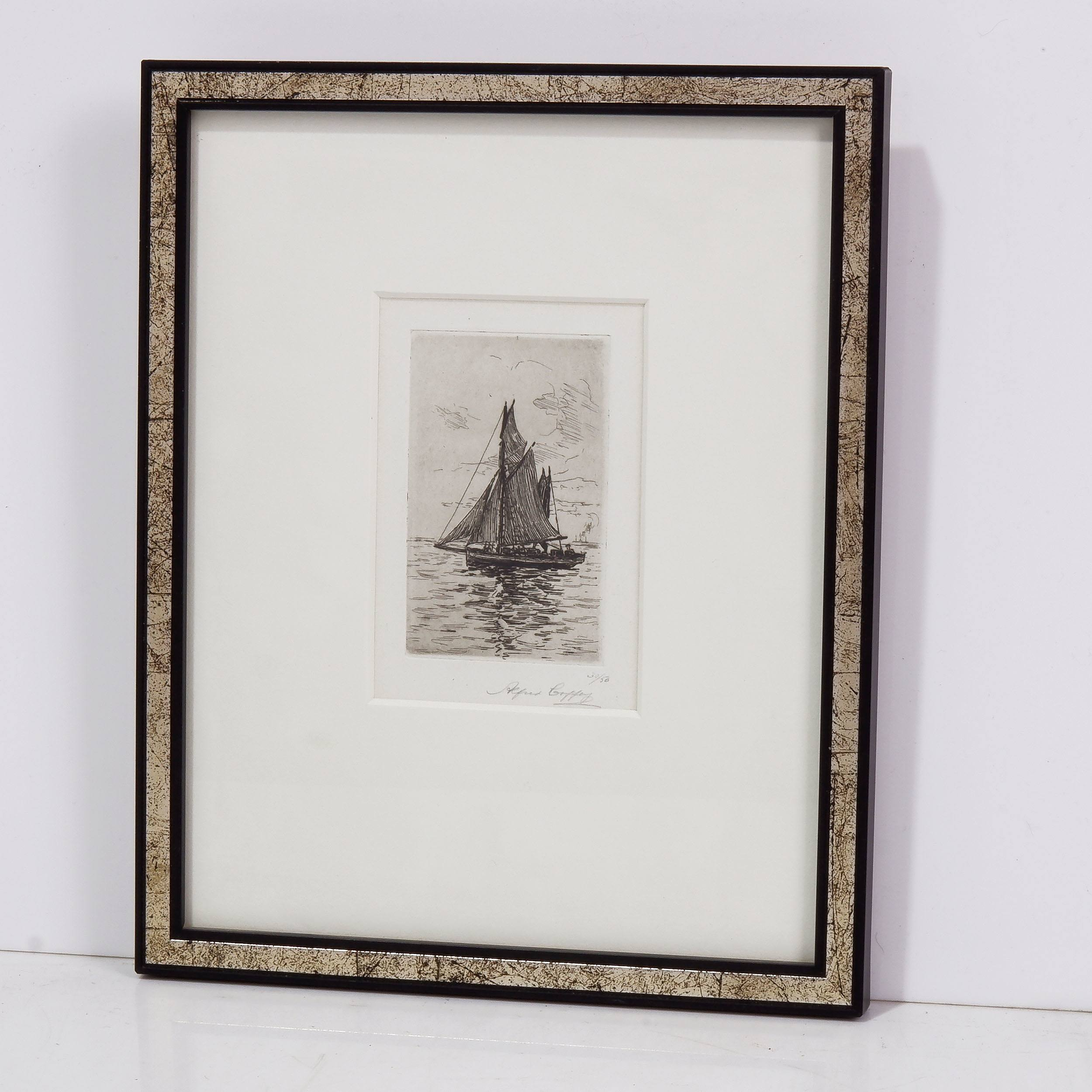 'Alfred Coffey (1869-1950) Sail Boat, Etching '