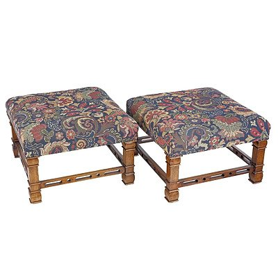 Pair of Chinese Chippendale Style Stools with Tapestry Upholstery