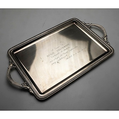 Spanish Silver Tray with Inscription to Hugh Gilchrist Circa 1979 730g