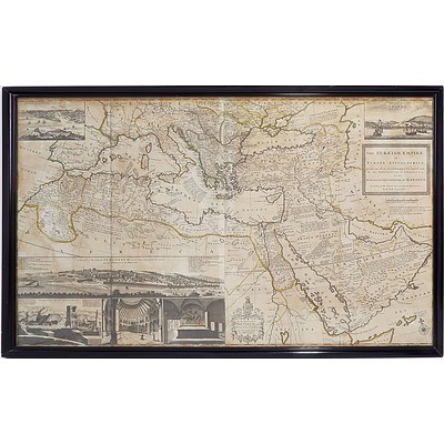 Large Antiquarian Hand Coloured Map of the Turkish Empire