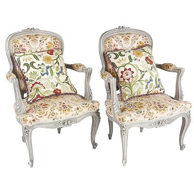 Pair Louis Style Lime Painted Armchairs with Cut Velvet Upholstery
